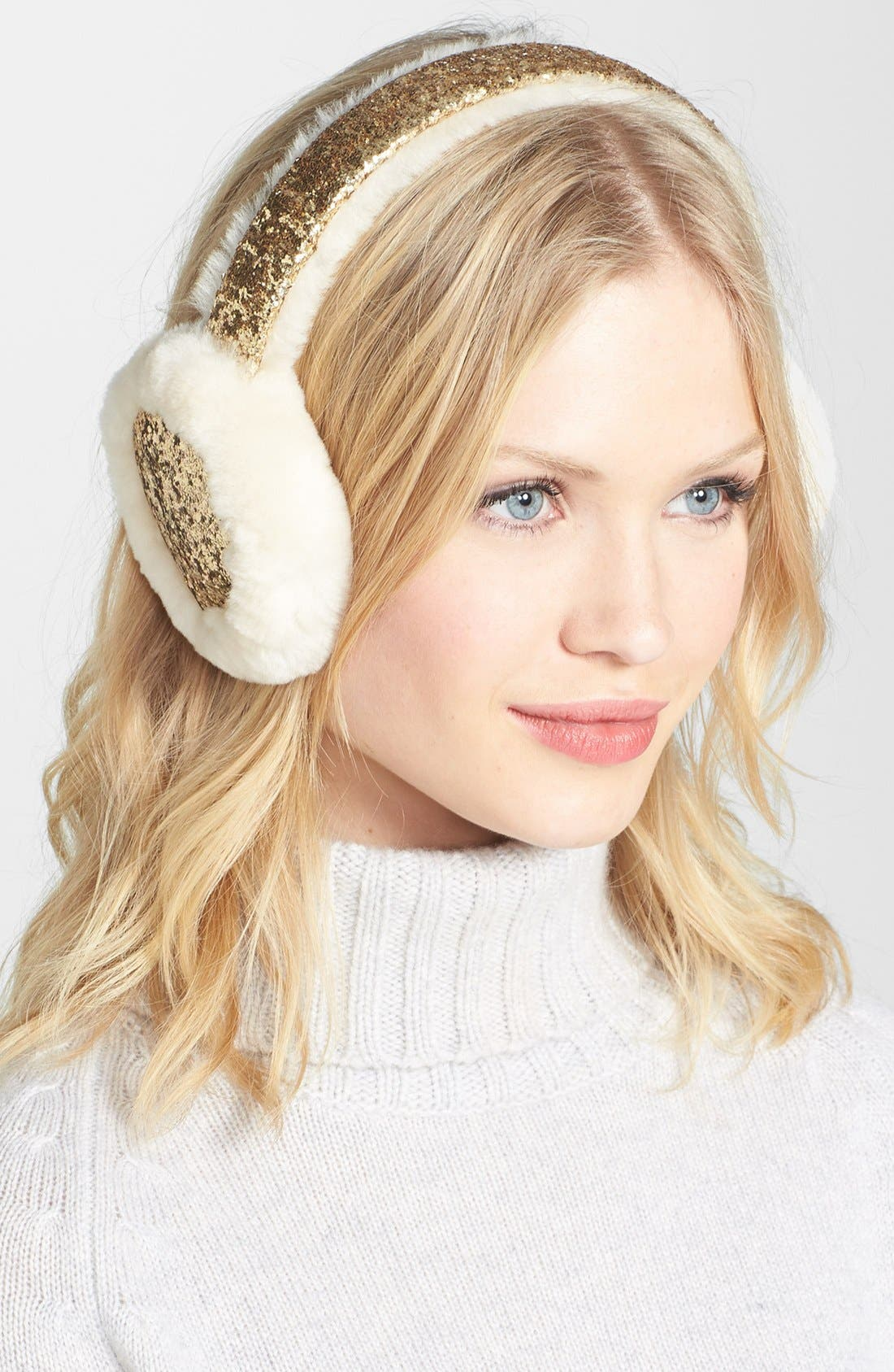 Alternate Image 1 Selected - UGG® Australia Glitter Shearling Earmuffs