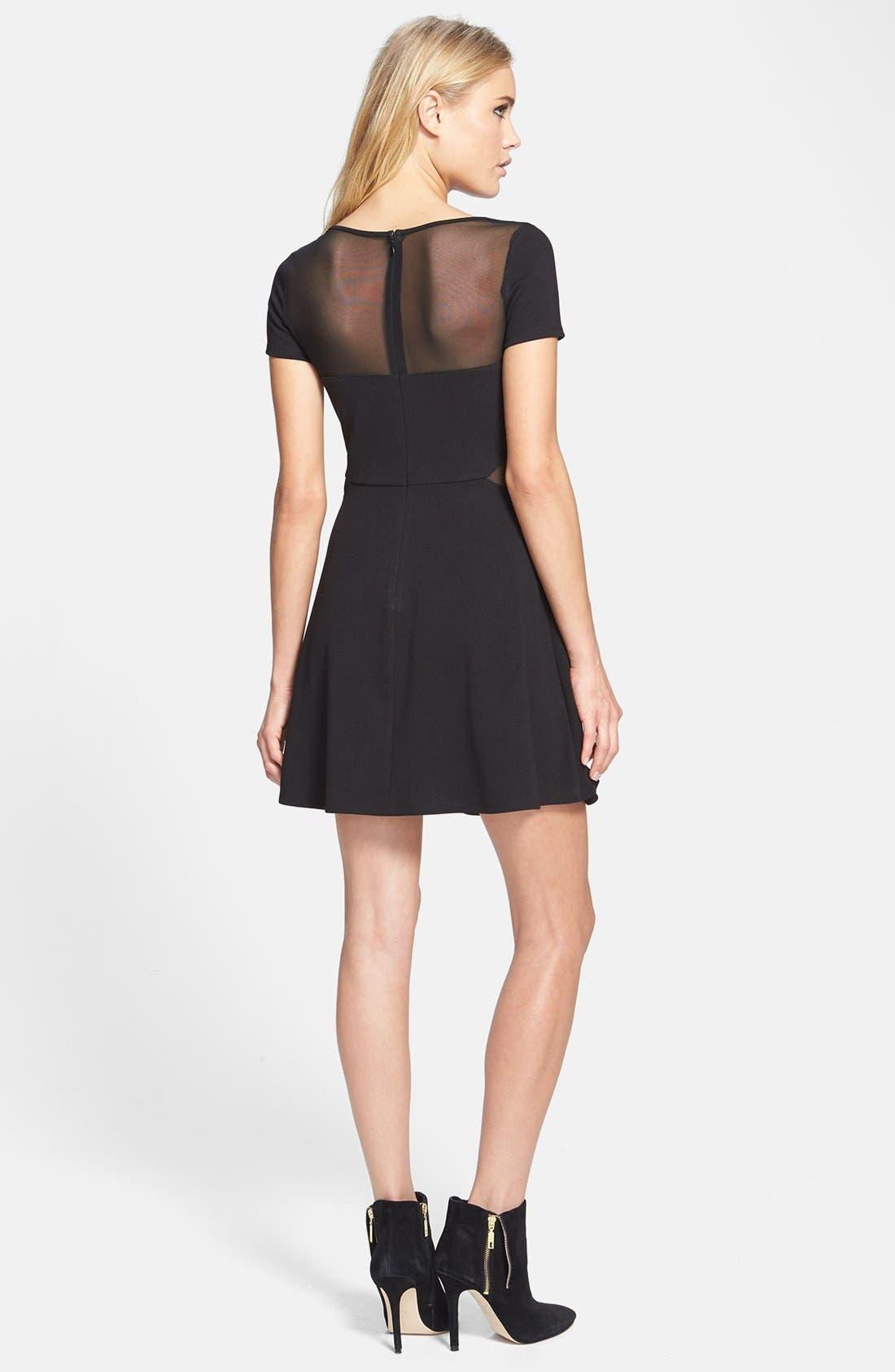 Alternate Image 2  - Like Mynded Mesh Inset Skater Dress
