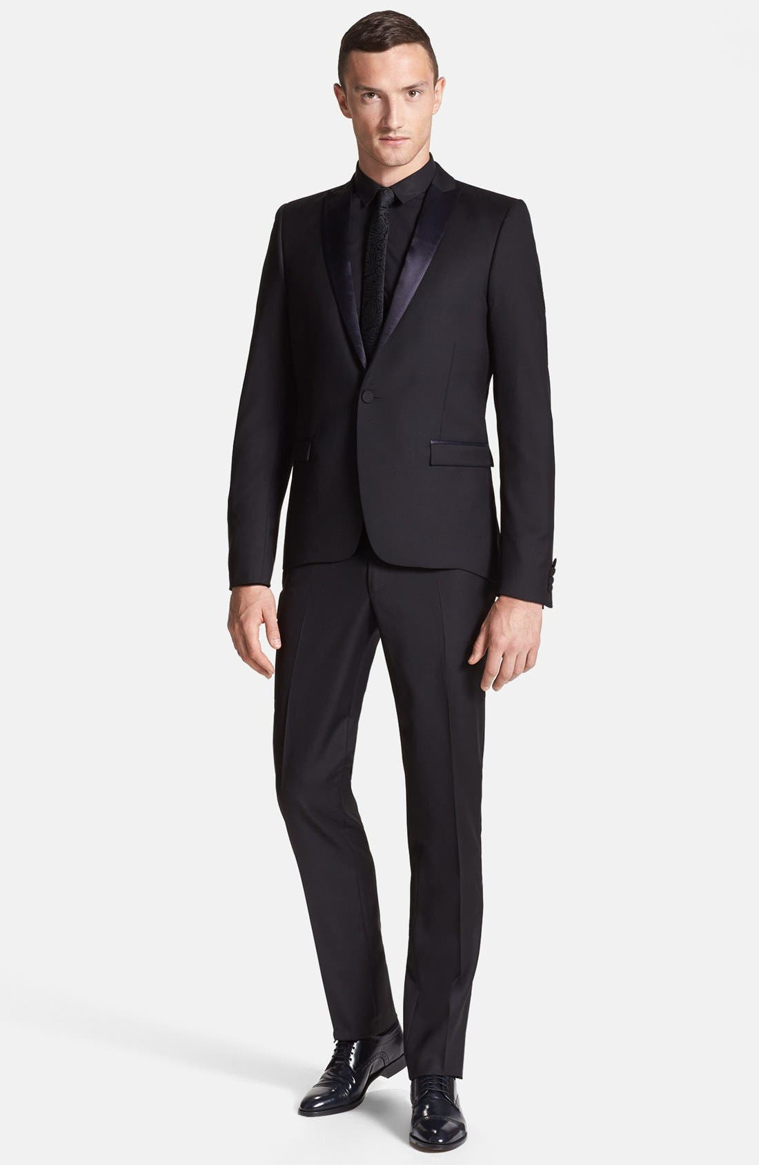 Alternate Image 5  - The Kooples Trim Fit Black Wool Tuxedo Jacket