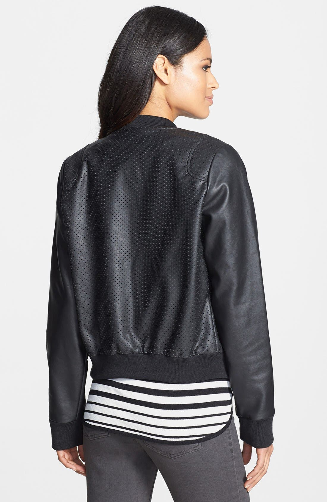 Alternate Image 2  - Calvin Klein Perforated Faux Leather Bomber Jacket