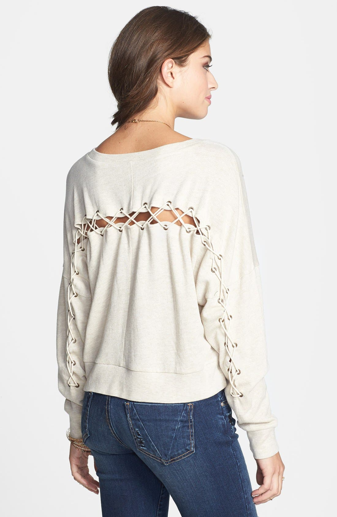 Main Image - BP. Lace Up Crop Sweatshirt (Juniors)