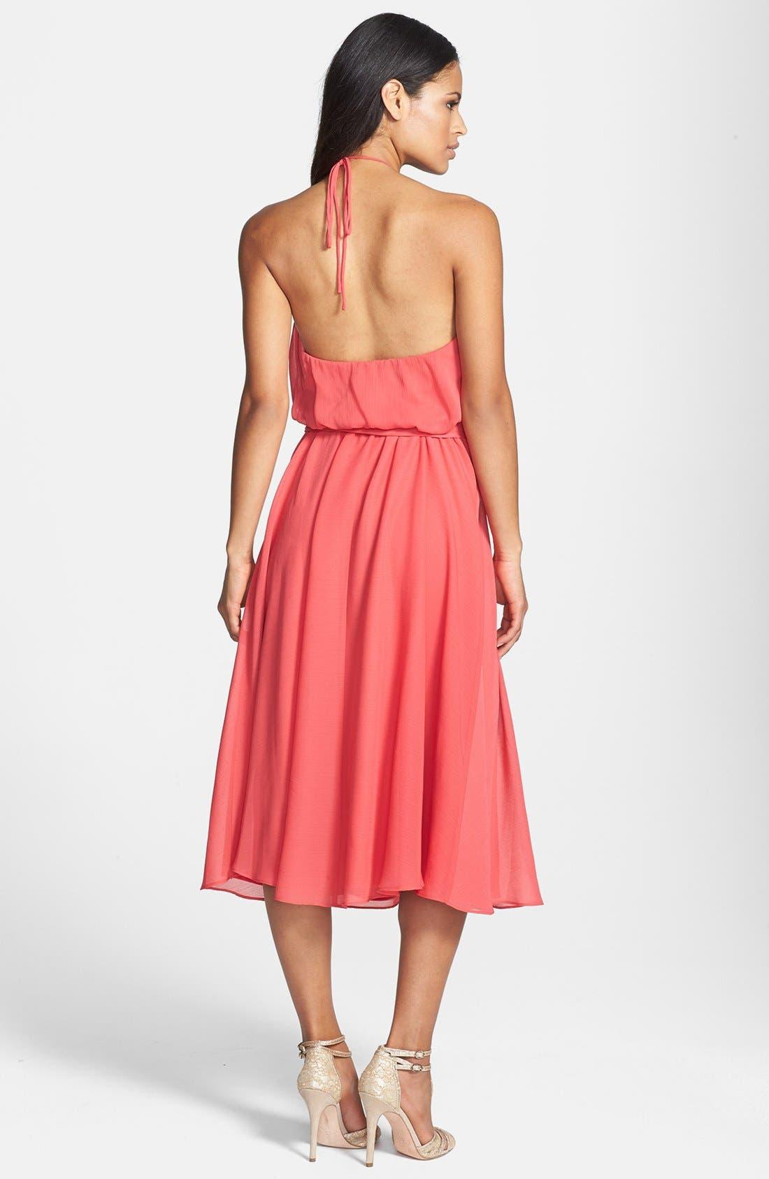 Alternate Image 2  - Isaac Mizrahi New York Belted Chiffon Halter Dress