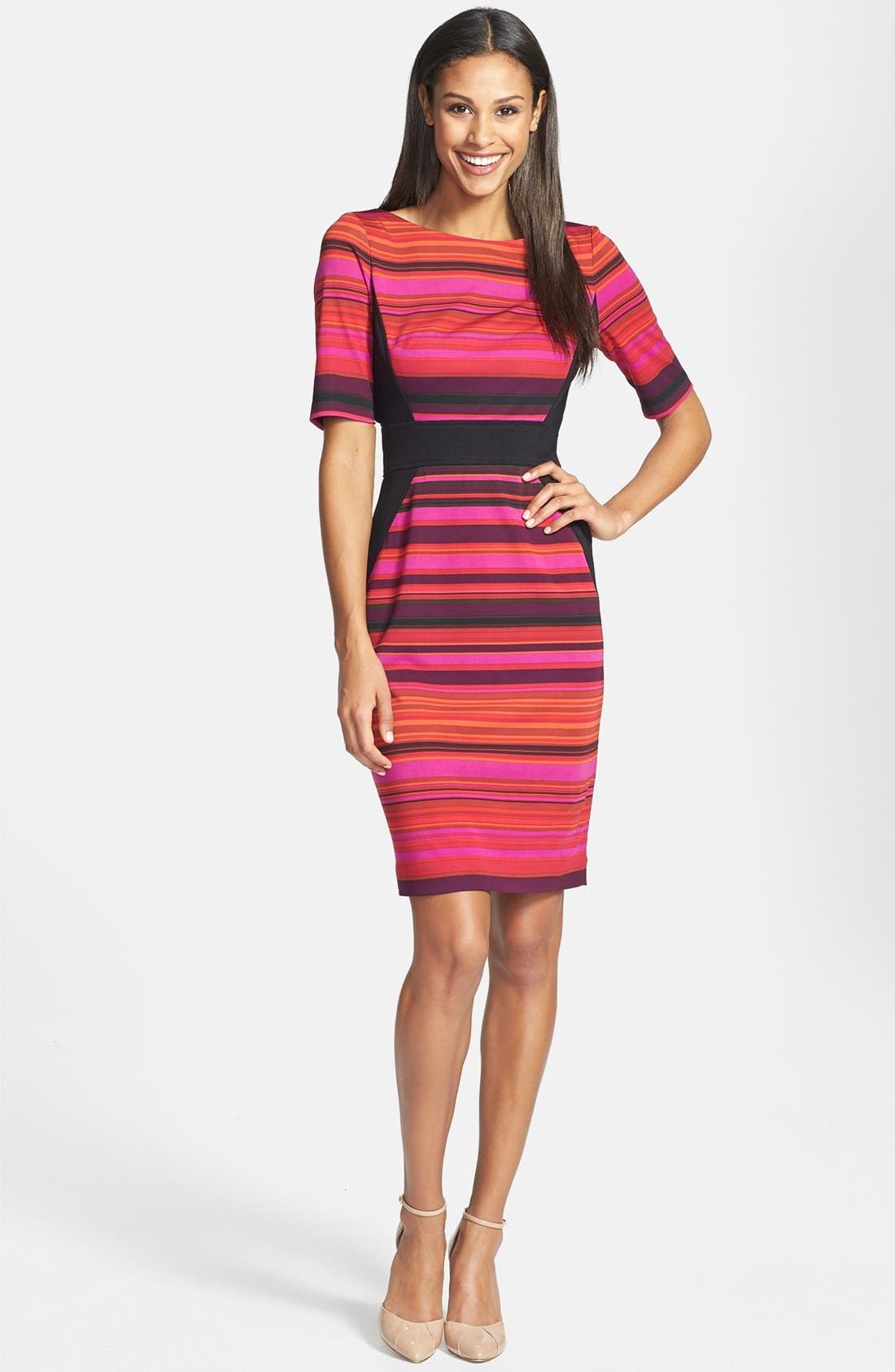 Alternate Image 1 Selected - Maggy London Stripe Ponte Sheath Dress