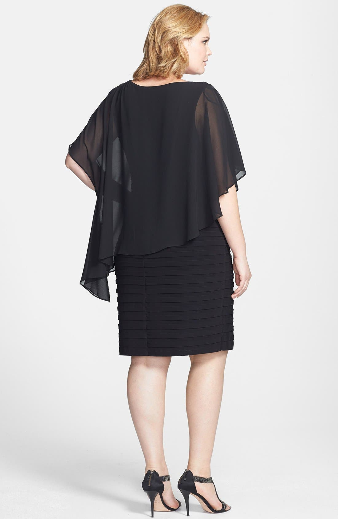 Alternate Image 2  - Betsy & Adam Chiffon Overlay Shutter Pleat Sheath Dress (Plus Size)