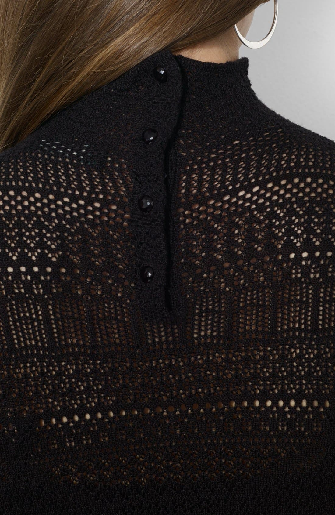 Alternate Image 4  - Lauren Ralph Lauren Mock Neck Pointelle Sweater Dress (Petite)