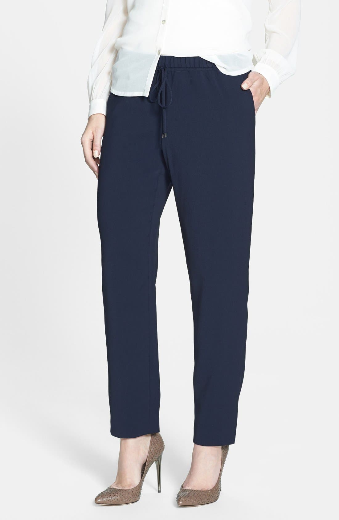 Alternate Image 1 Selected - T Tahari 'Loren' Drawstring Waist Stretch Twill Pants