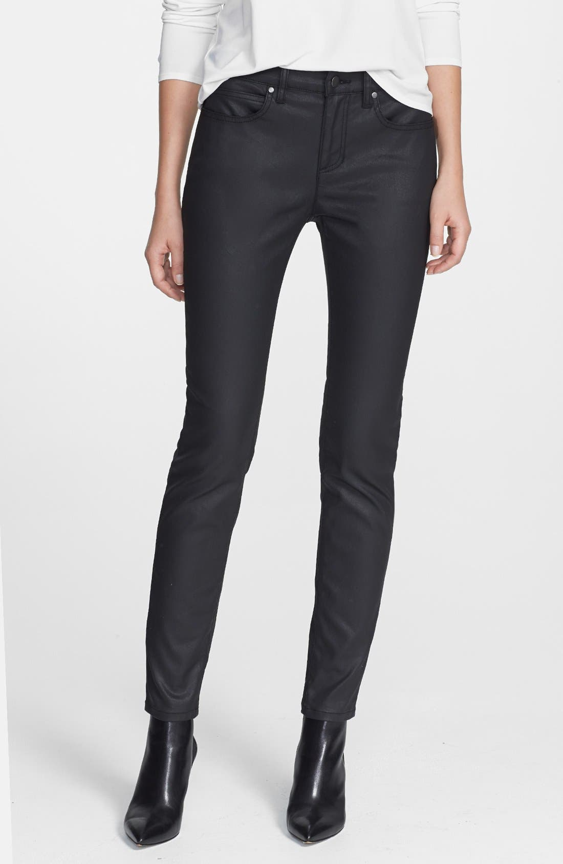Alternate Image 1 Selected - Eileen Fisher Ankle Skinny Jeans (Black) (Petite)