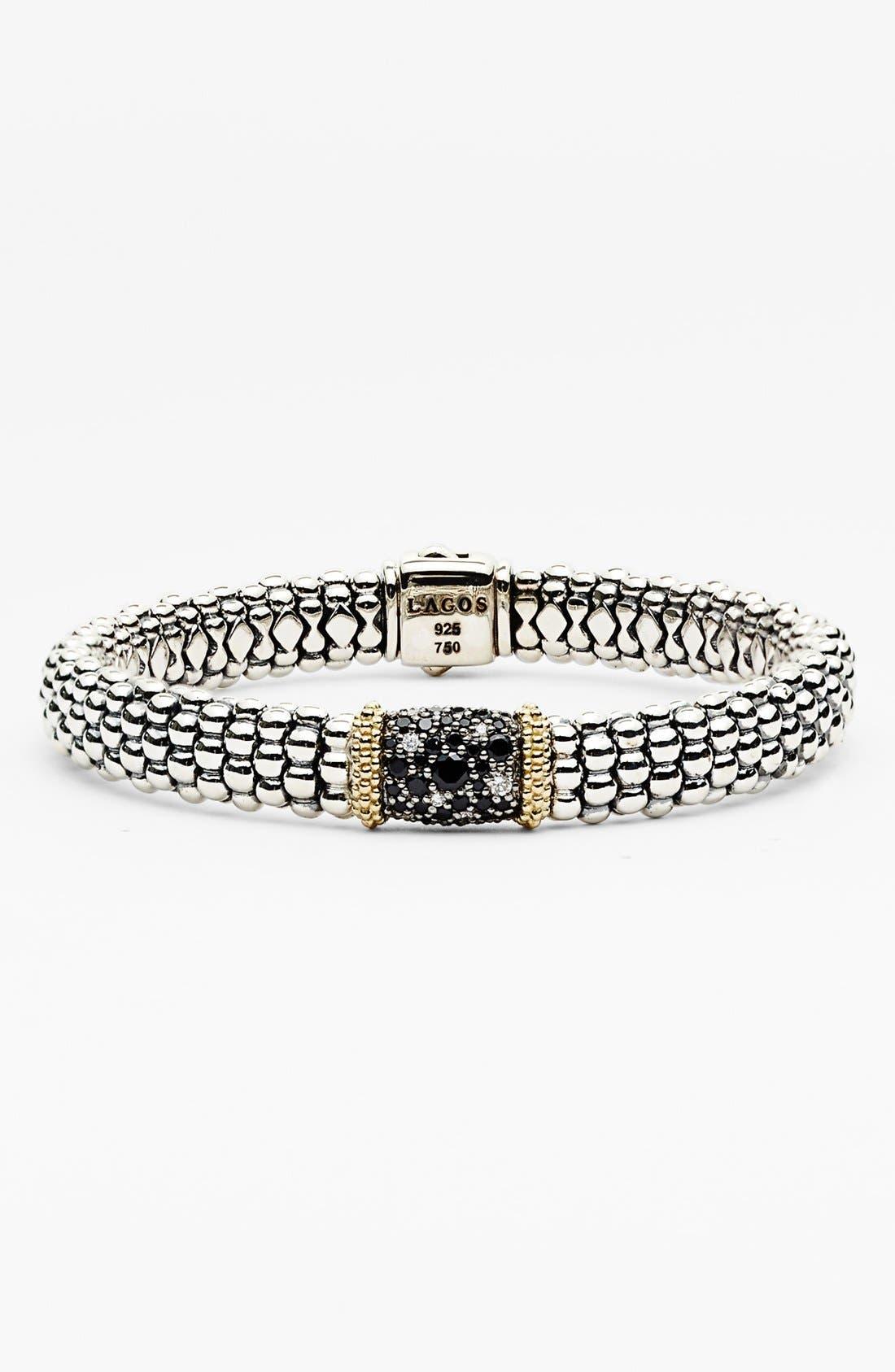 Main Image - Lagos 'Nightfall' Caviar™ Diamond & Black Spinel Rope Bracelet
