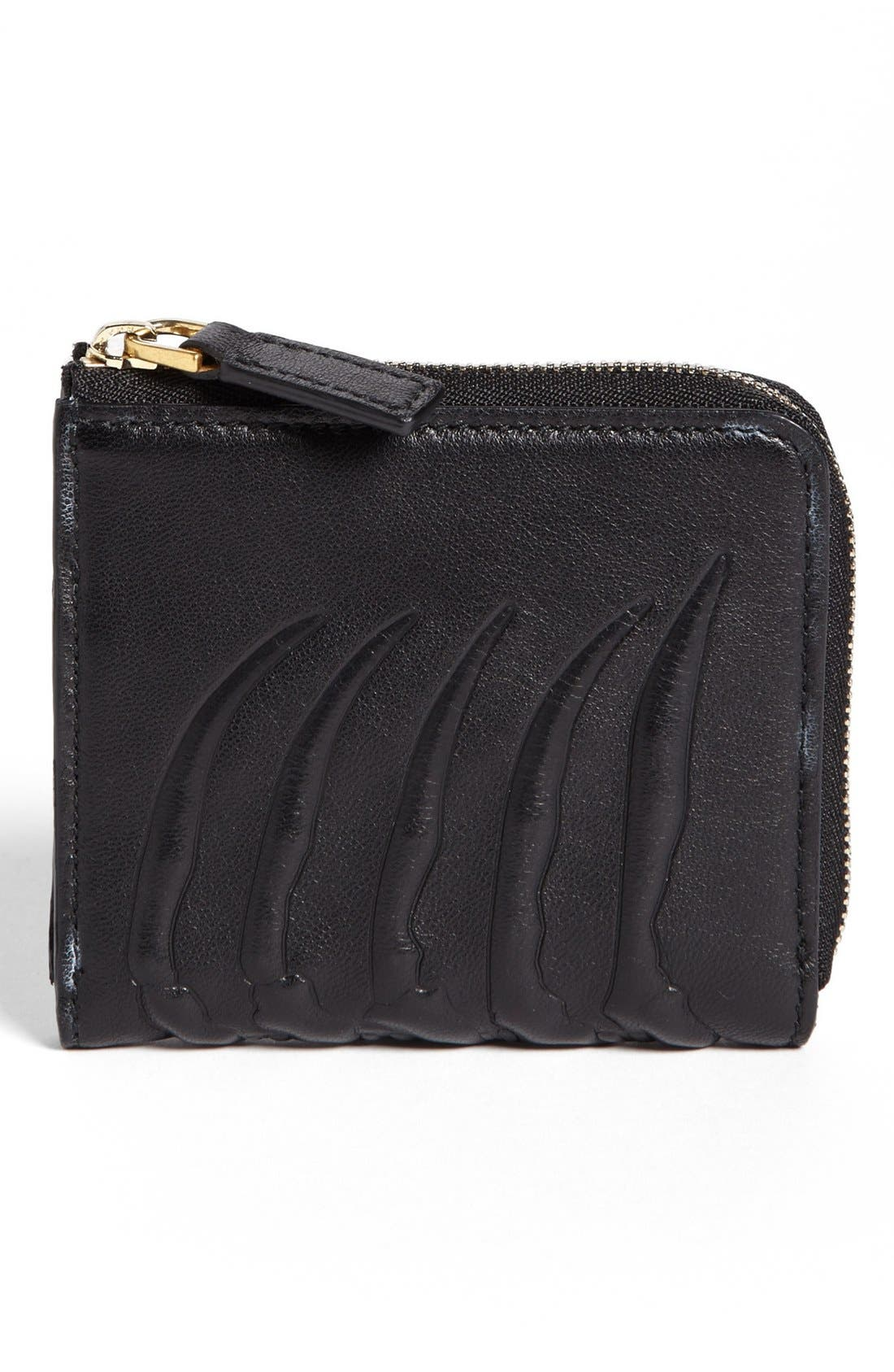 Alternate Image 1 Selected - Alexander McQueen Rib Cage Leather Half Zip Wallet