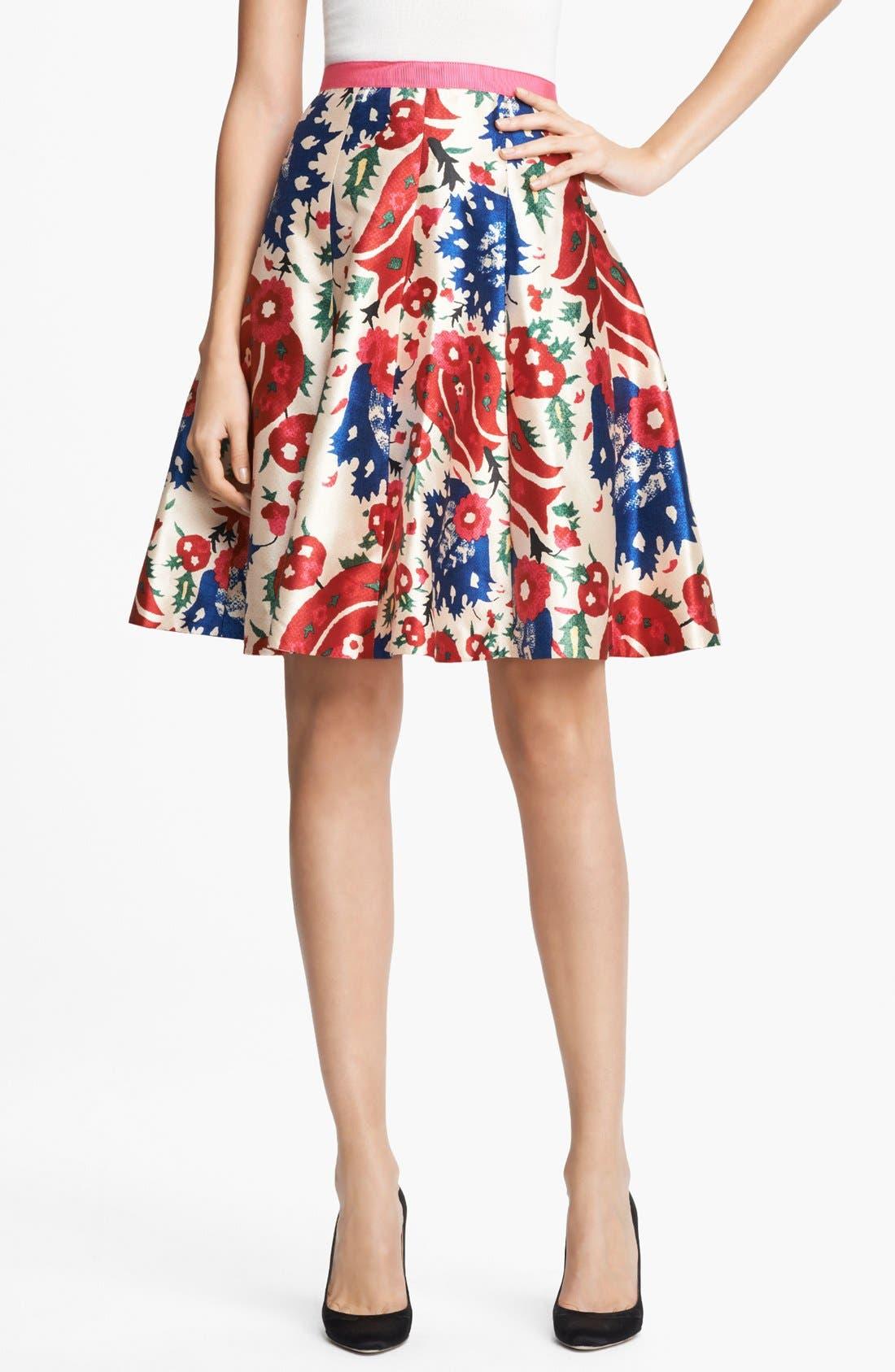 Main Image - Oscar de la Renta Floral Print Full Skirt
