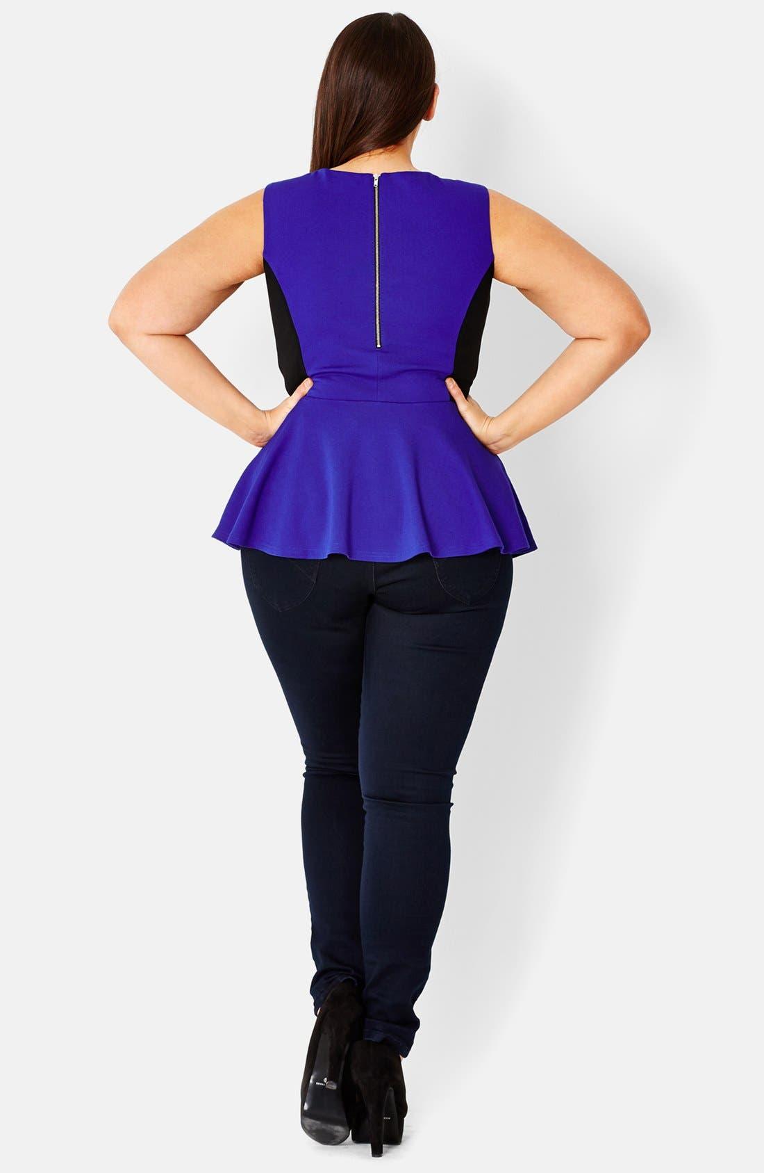 Alternate Image 2  - City Chic Colorblock Sleeveless Peplum Top (Plus Size)