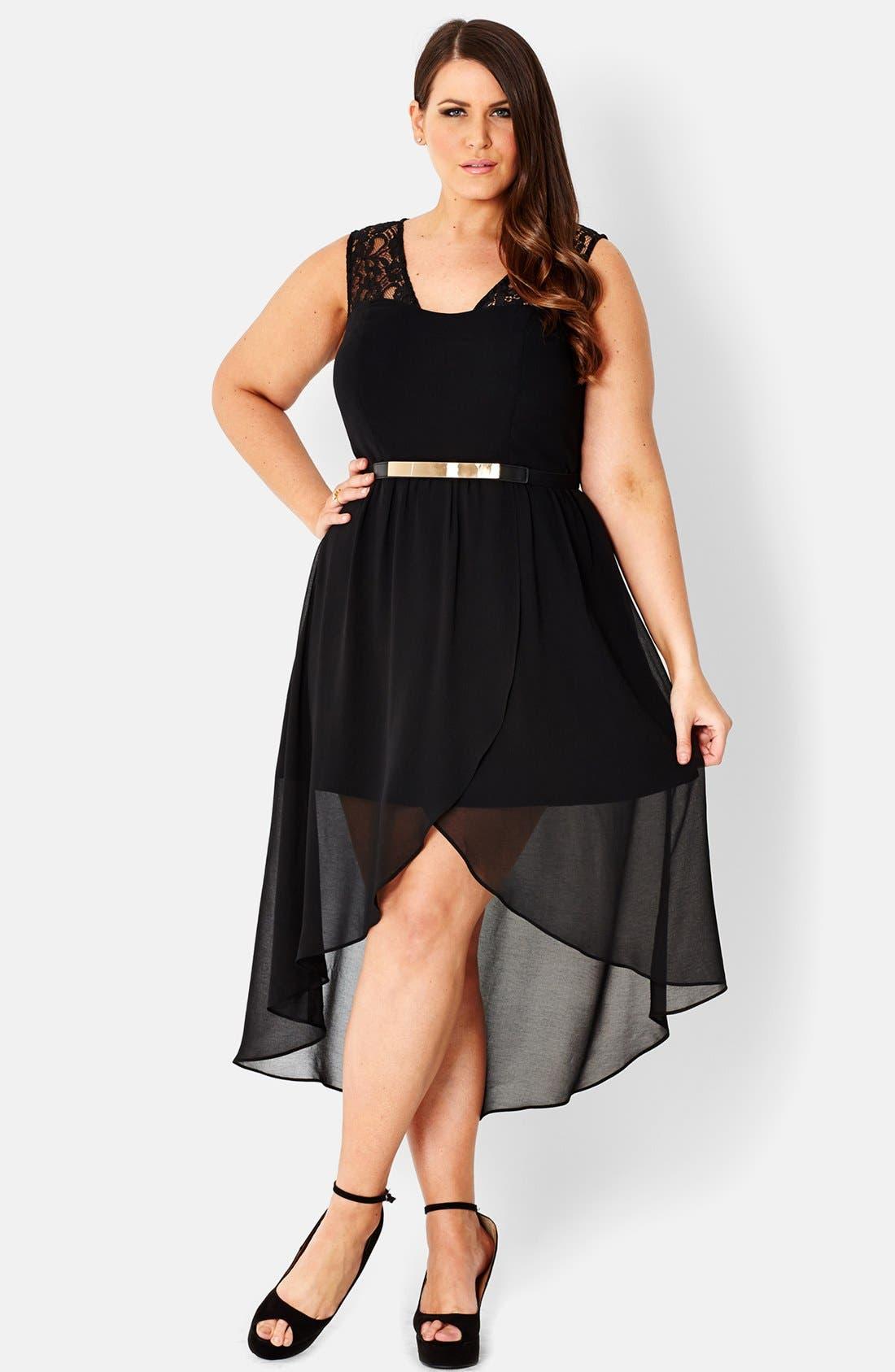 Main Image - City Chic Lace Trim High/Low Chiffon Overlay Dress (Plus Size)