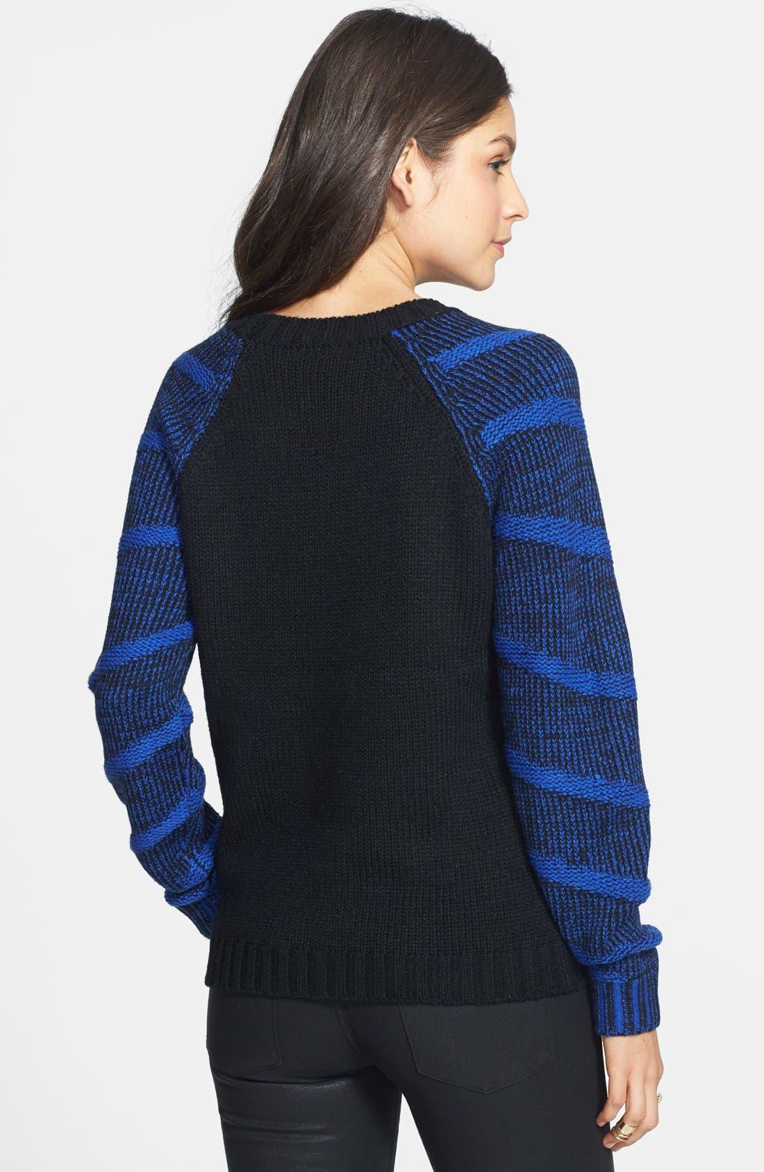 Alternate Image 2  - Lush Stripe Raglan Sleeve Sweater (Juniors) (Online Only)