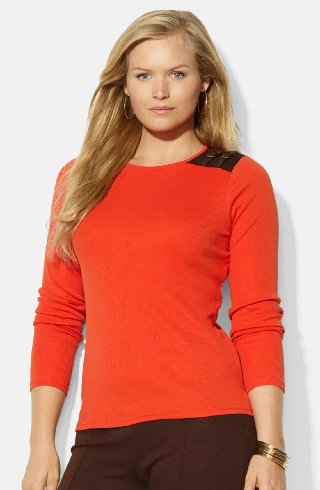 Alternate Image 1 Selected - Lauren Ralph Lauren Buckle Detail Cotton Top (Plus Size)