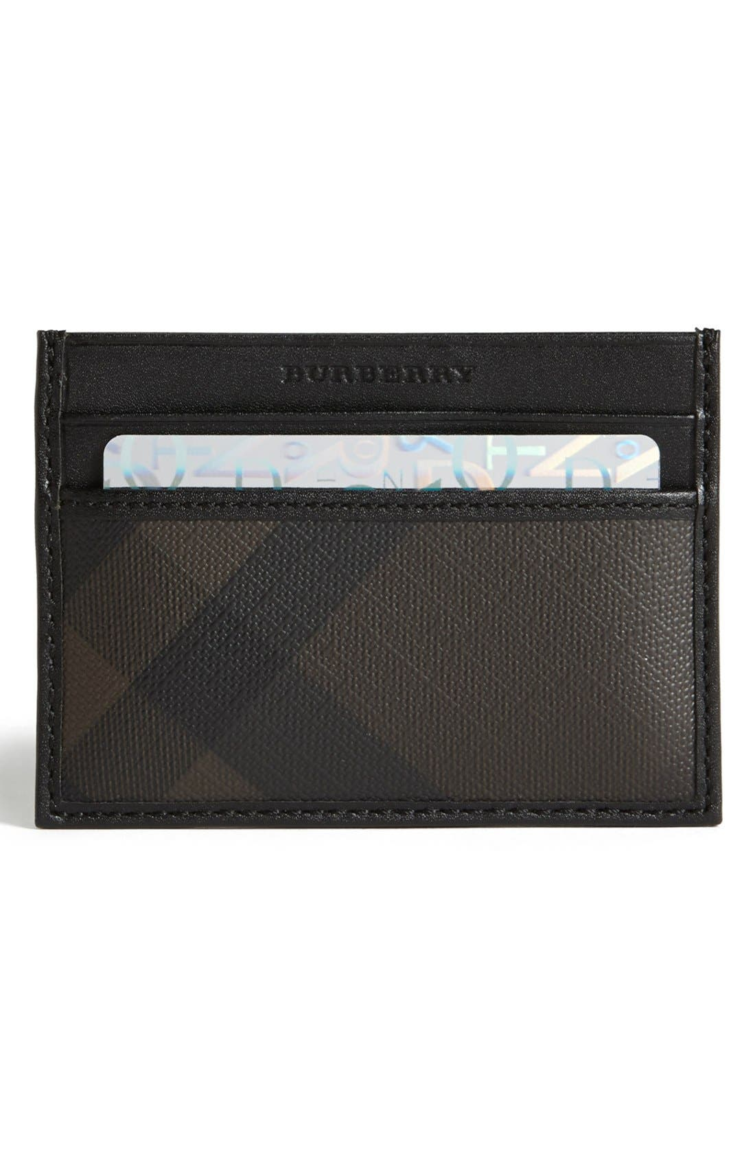 Alternate Image 1 Selected - Burberry Check Print Card Case