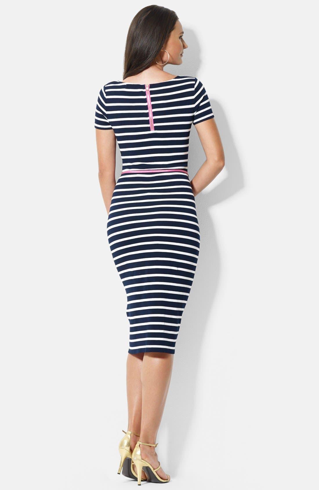 Alternate Image 2  - Lauren Ralph Lauren Stripe Knit Dress (Petite)
