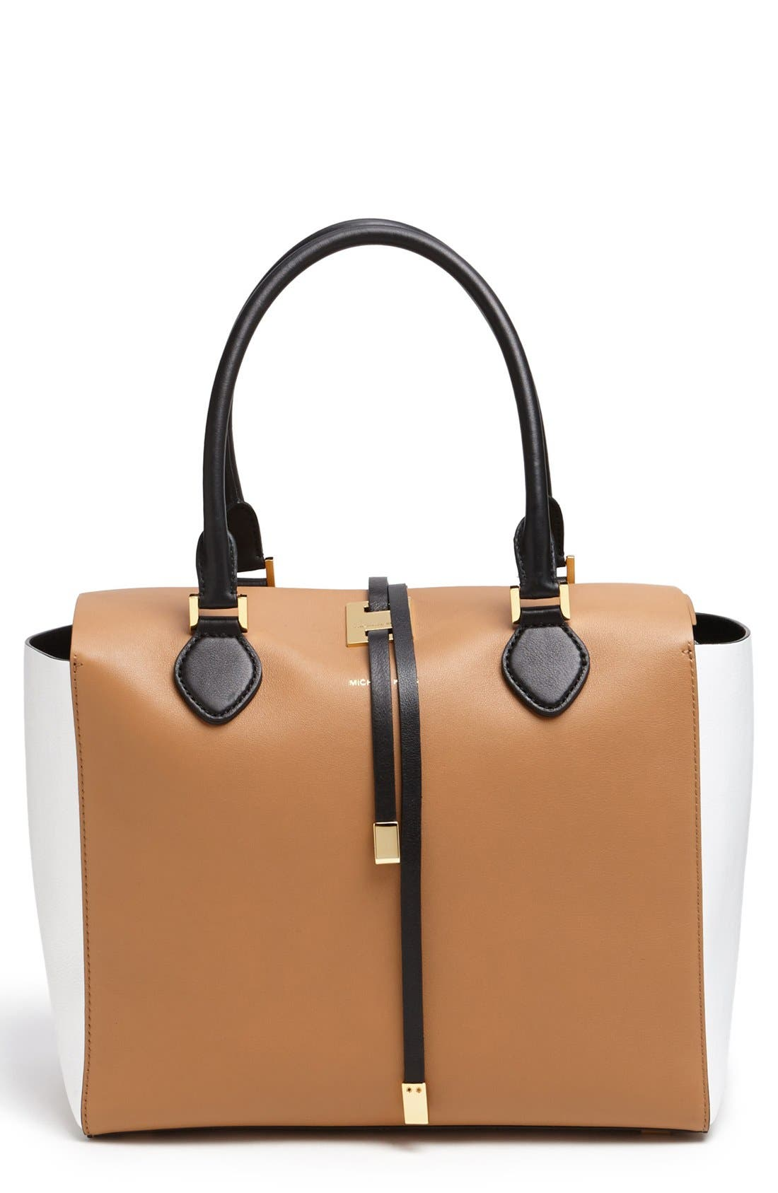 Alternate Image 1 Selected - Michael Kors 'Large Miranda' Colorblock Calfskin Tote