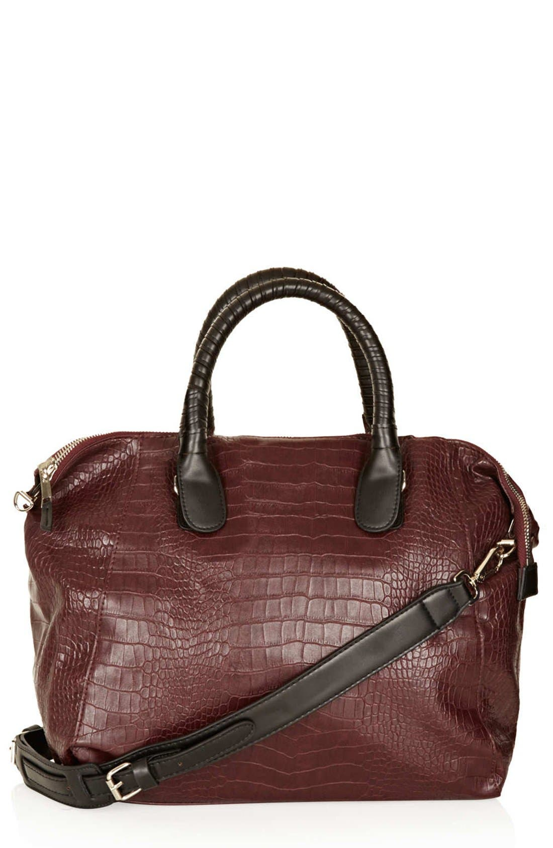 Alternate Image 1 Selected - Topshop Croc Embossed Satchel