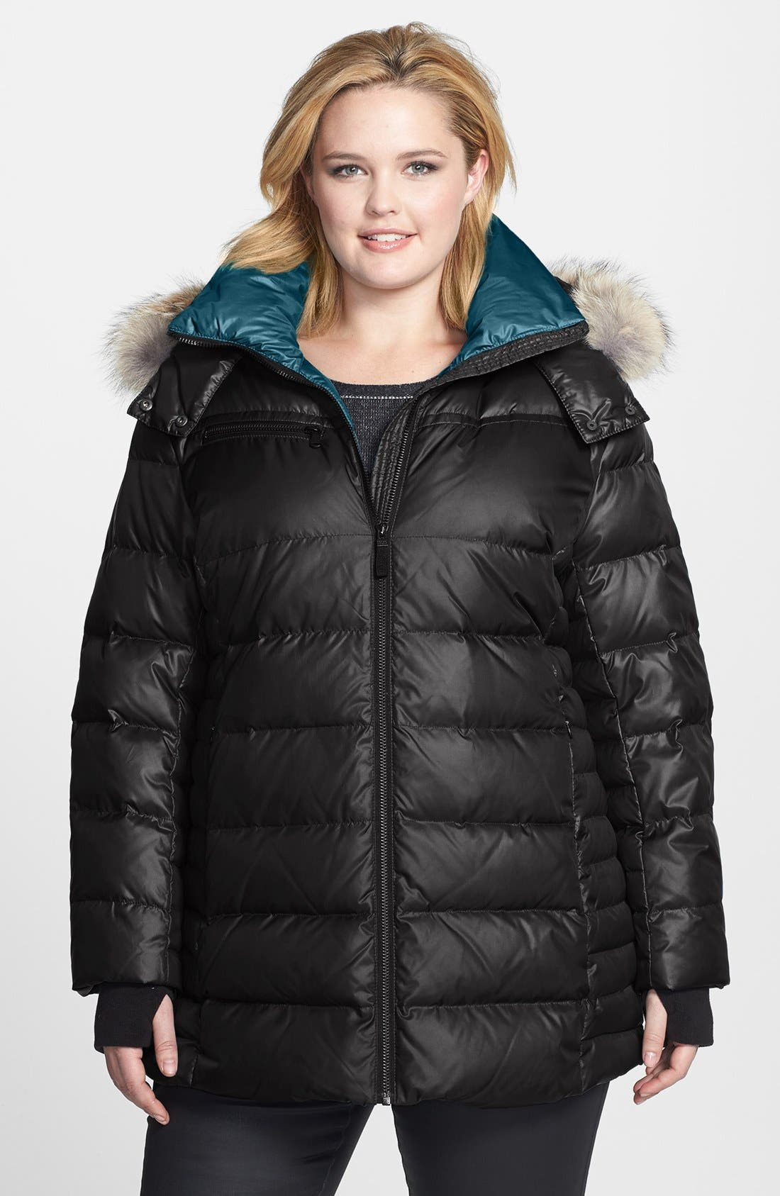 Main Image - Marc New York by Andrew Marc 'Paris' Genuine Coyote Fur Trim Jacket (Plus Size)