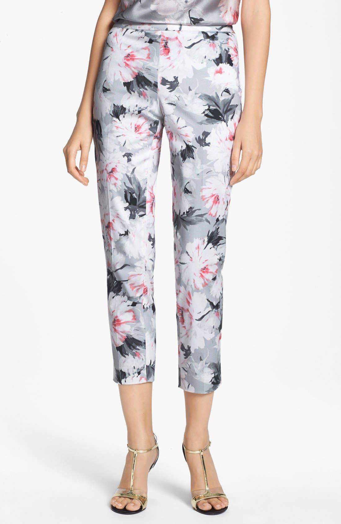 Main Image - St. John Collection 'Emma' Dahlia Print Sateen Crop Pants (Online Only)