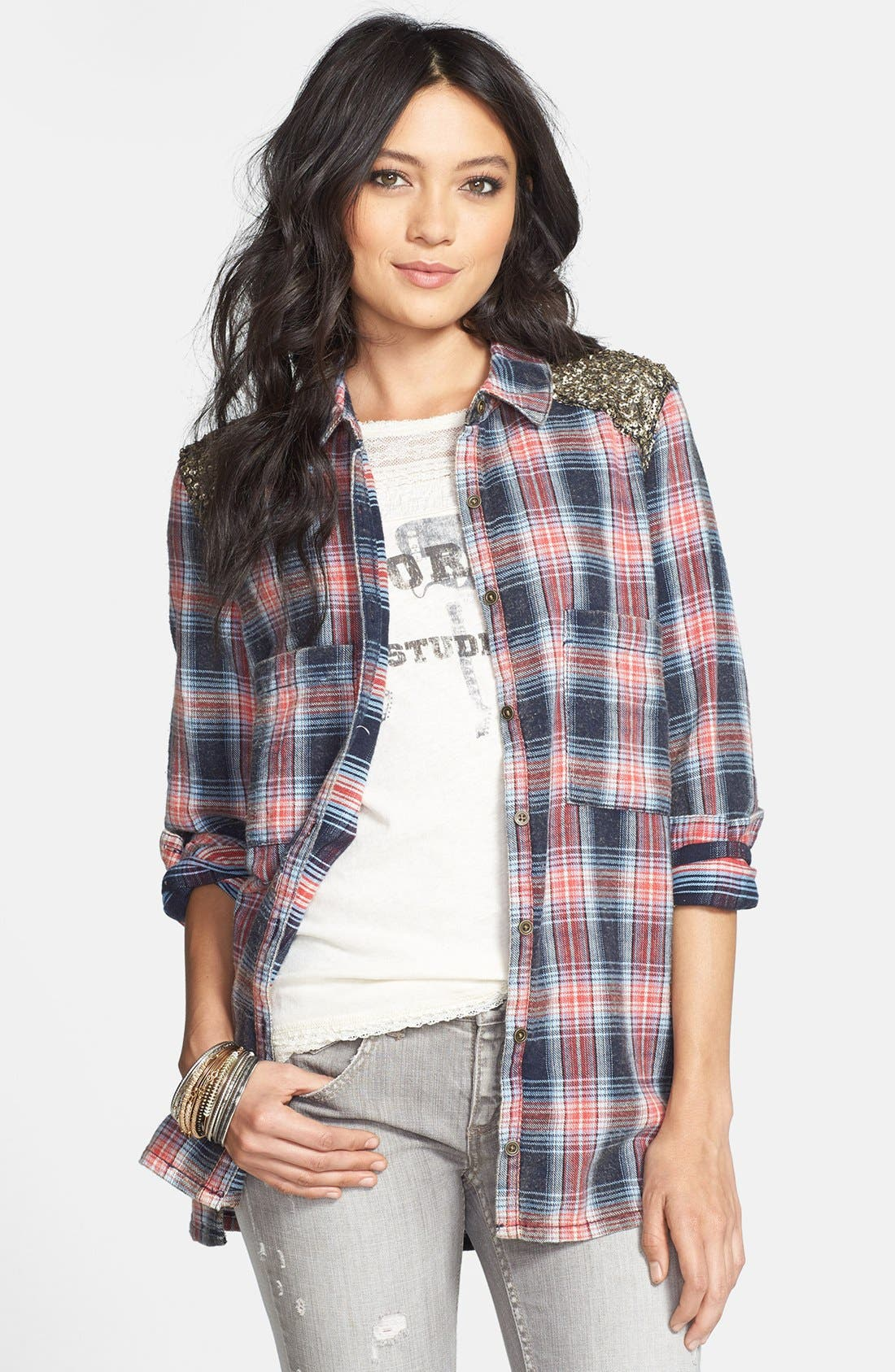 Alternate Image 1 Selected - Free People 'Little Bit of Sugar' Sequin Plaid Tunic Shirt