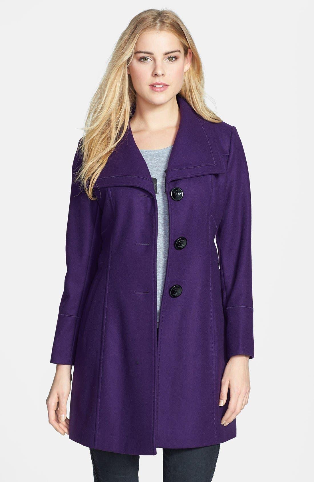 Alternate Image 1 Selected - GUESS Exaggerated Collar Wool Blend Coat (Petite)