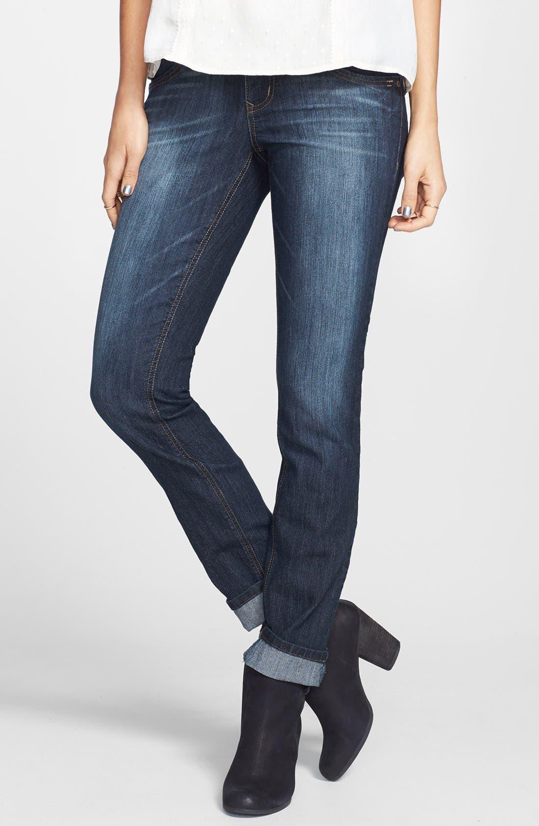 Alternate Image 2  - Jolt Embroidered Pocket Skinny Jeans (Juniors)