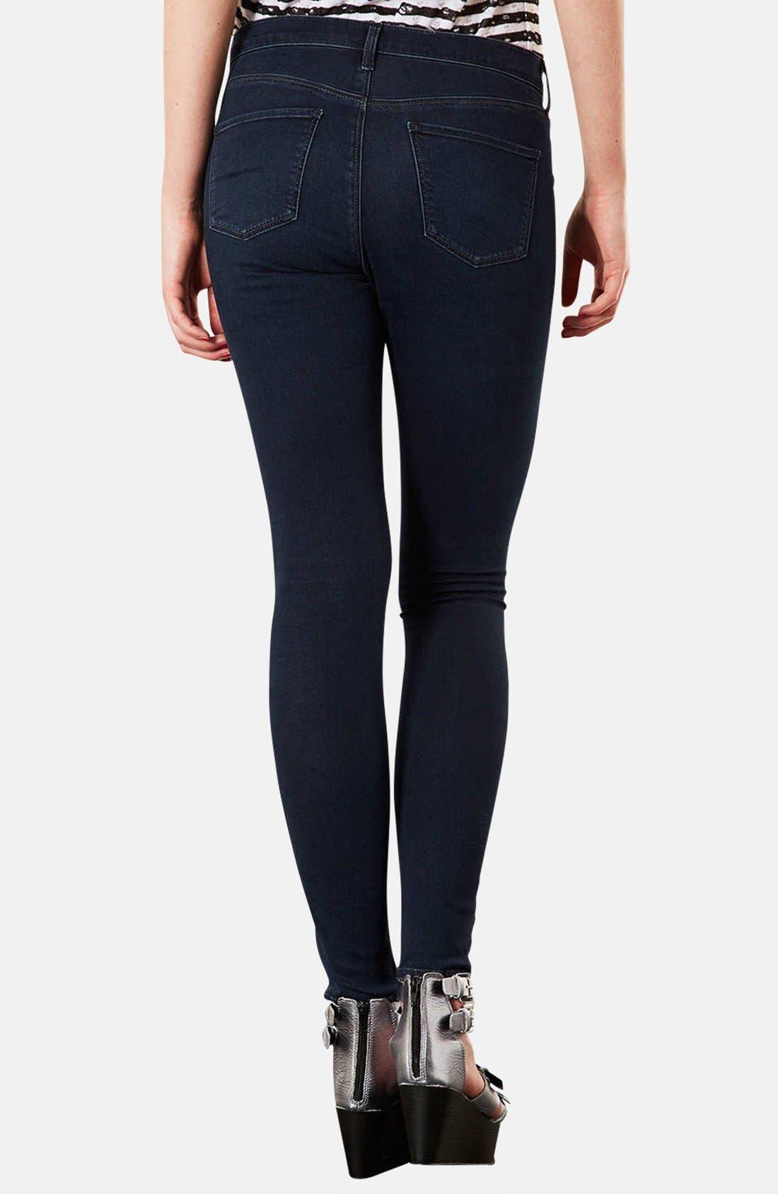 Alternate Image 2  - Topshop Moto 'Leigh' Skinny Jeans (Indigo) (Regular & Short)