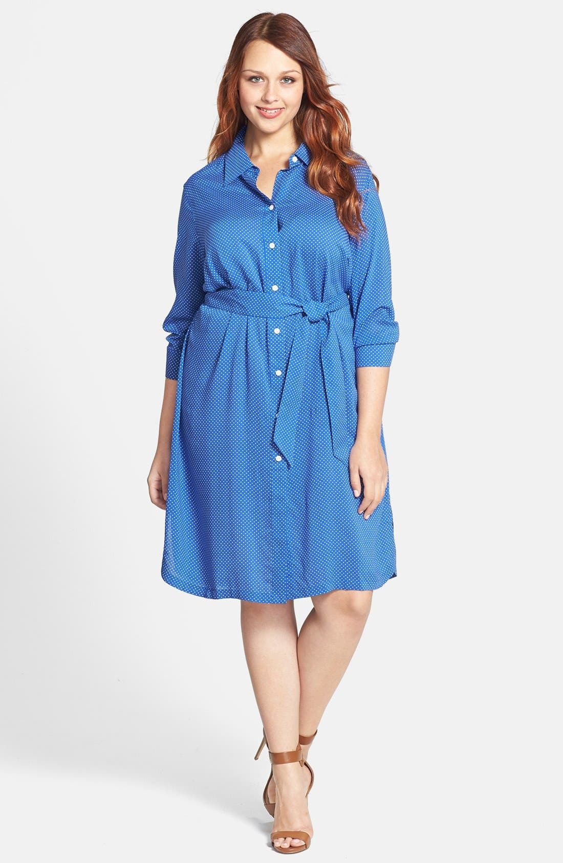 Main Image - Foxcroft Dot Print Shirtdress (Plus Size)