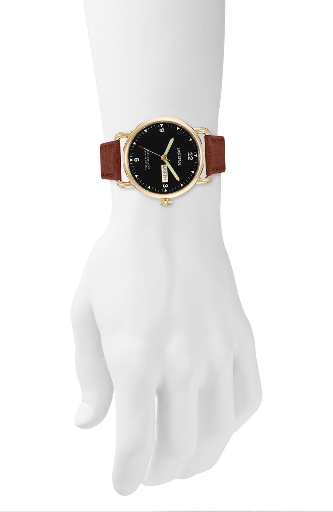 Alternate Image 4  - Jack Spade 'Buckner' Leather Strap Watch, 42mm