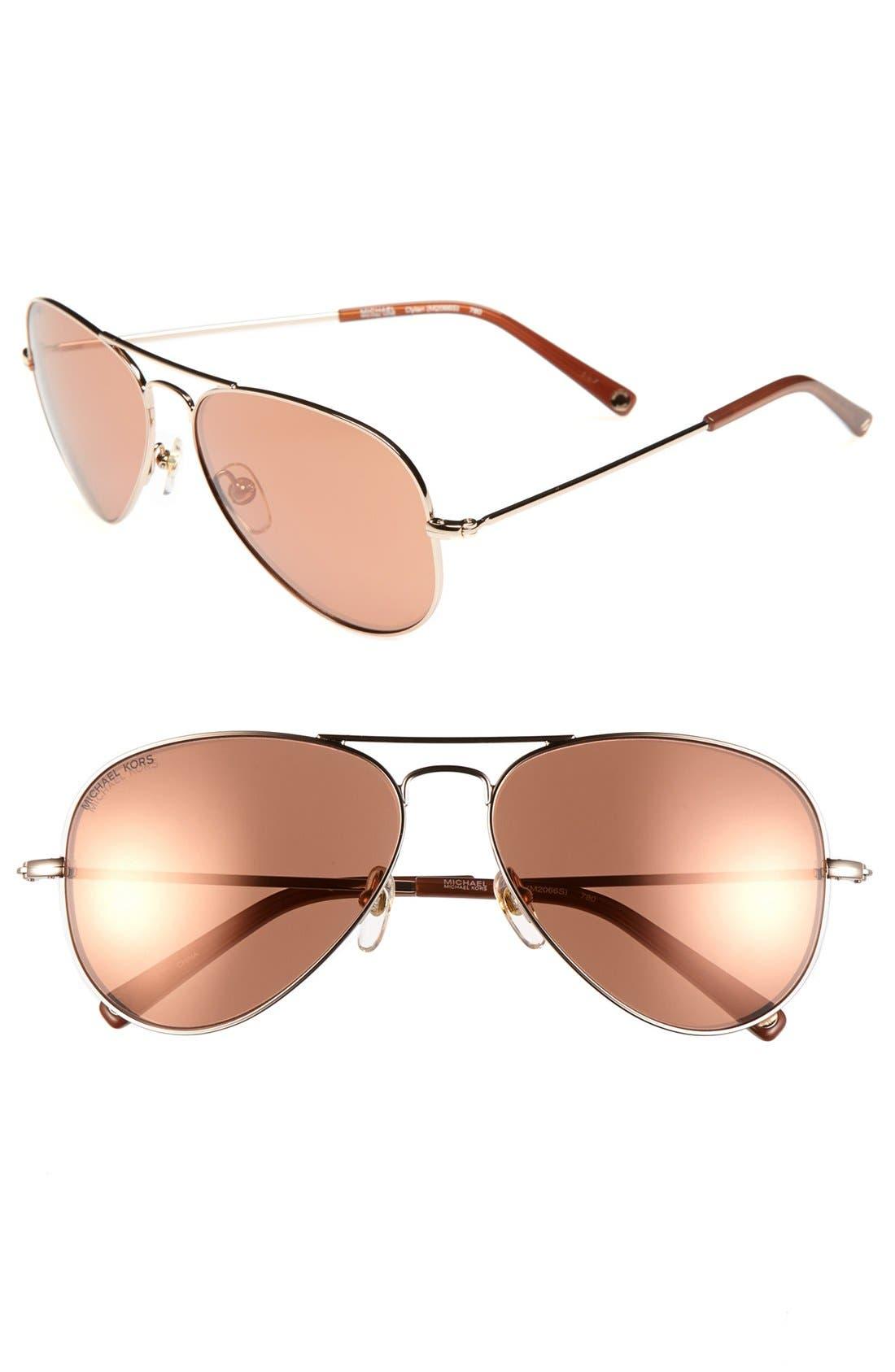 Alternate Image 1 Selected - MICHAEL Michael Kors 'Dylan' 58mm Aviator Sunglasses