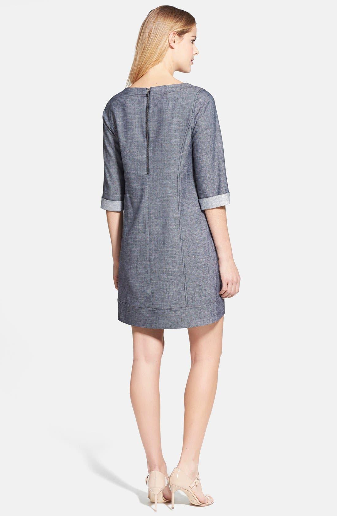 Alternate Image 2  - Halogen® 'Indigo Crosshatch' Shift Dress (Regular & Petite)
