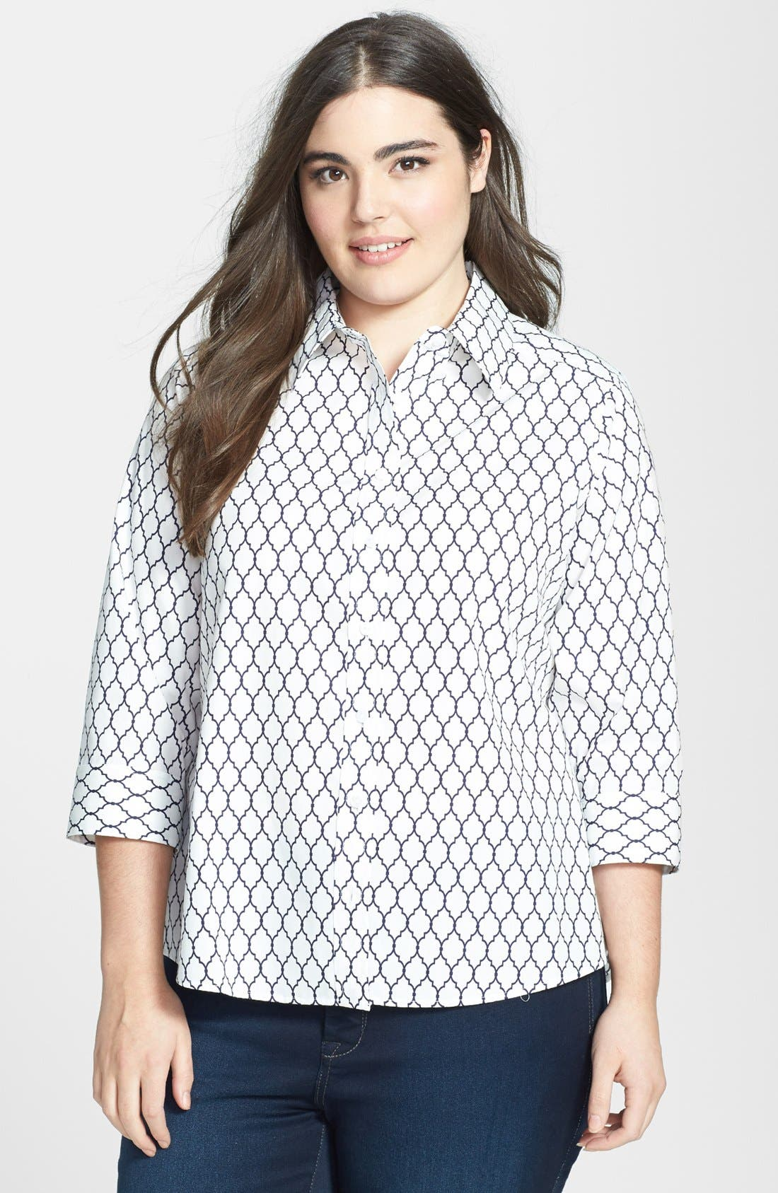 Main Image - Foxcroft Lattice Print Shaped Shirt (Plus Size)