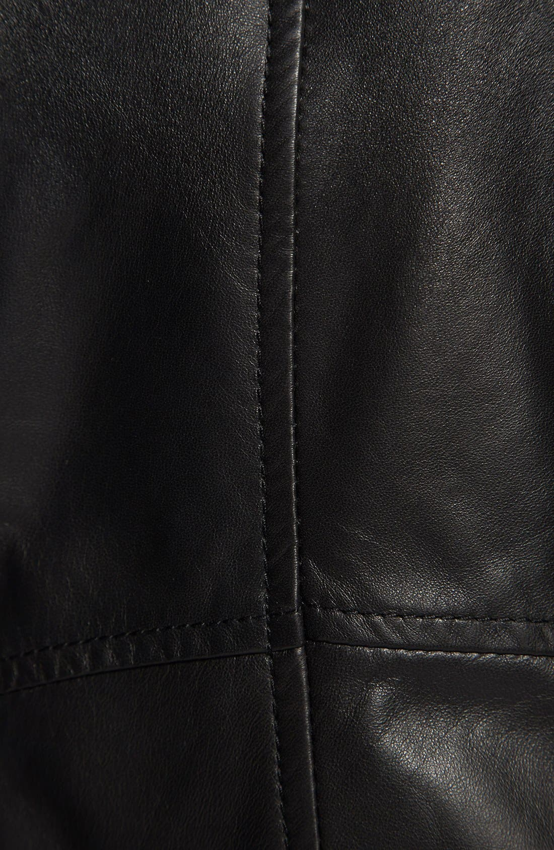 Alternate Image 3  - Halogen® 'Waterfall' Leather Jacket (Regular & Petite)