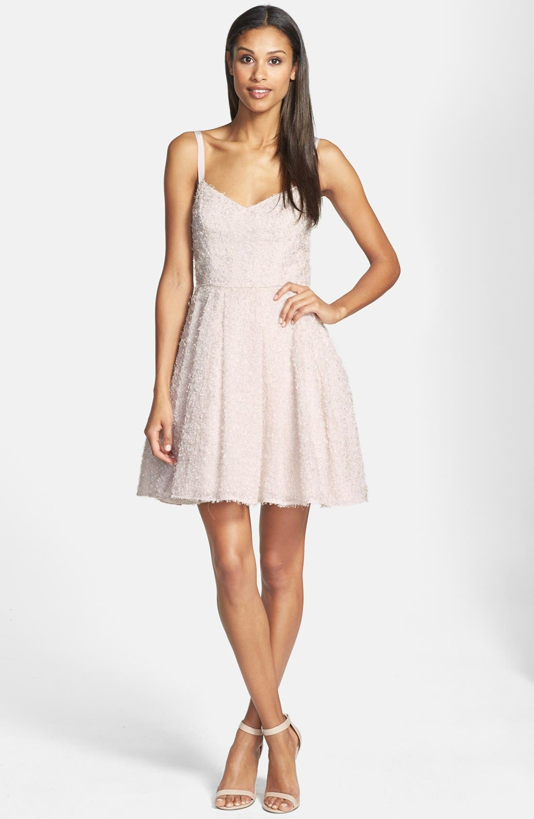 Main Image - French Connection 'Glitter Whisper' Back Bow Fit & Flare Dress