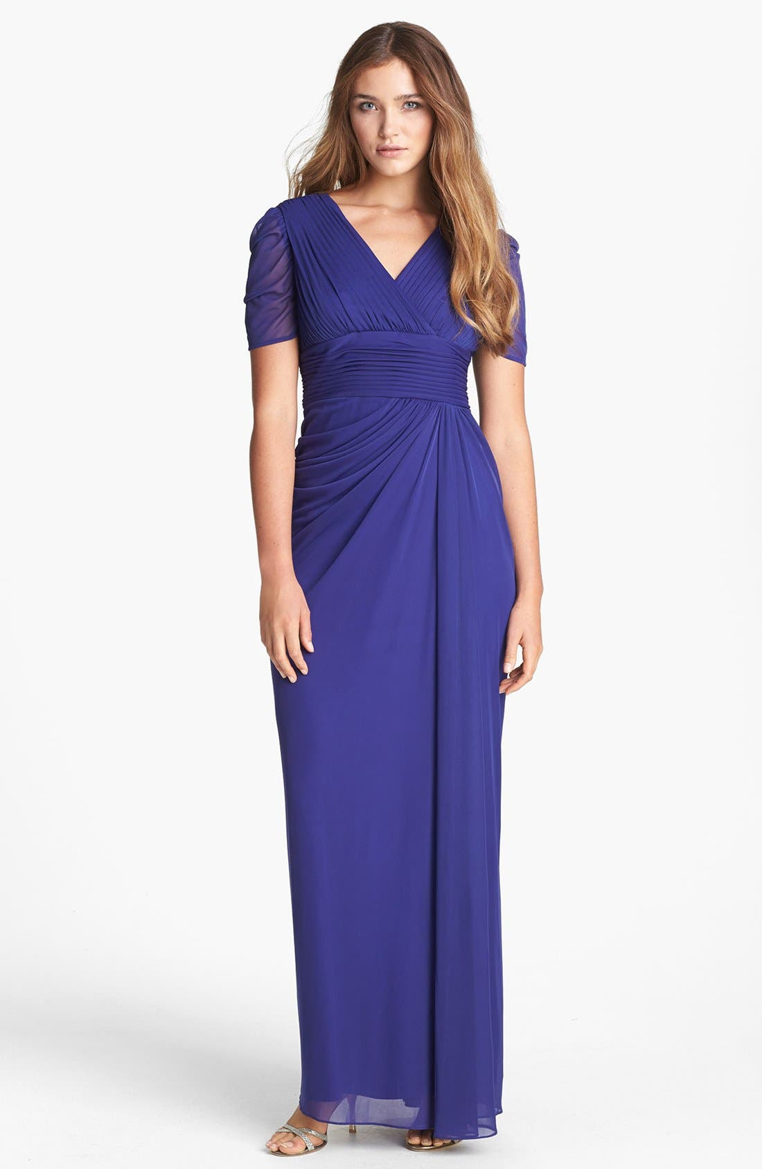 Alternate Image 1 Selected - Adrianna Papell Draped Chiffon Gown (Petite)