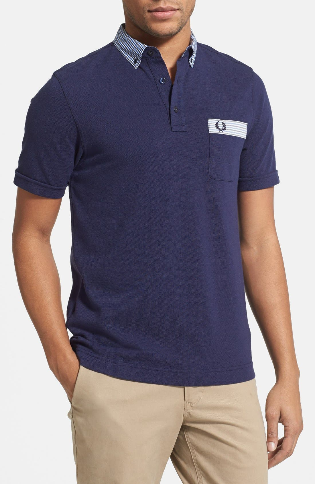 Alternate Image 1 Selected - Fred Perry Gingham Trim Slim Fit Polo