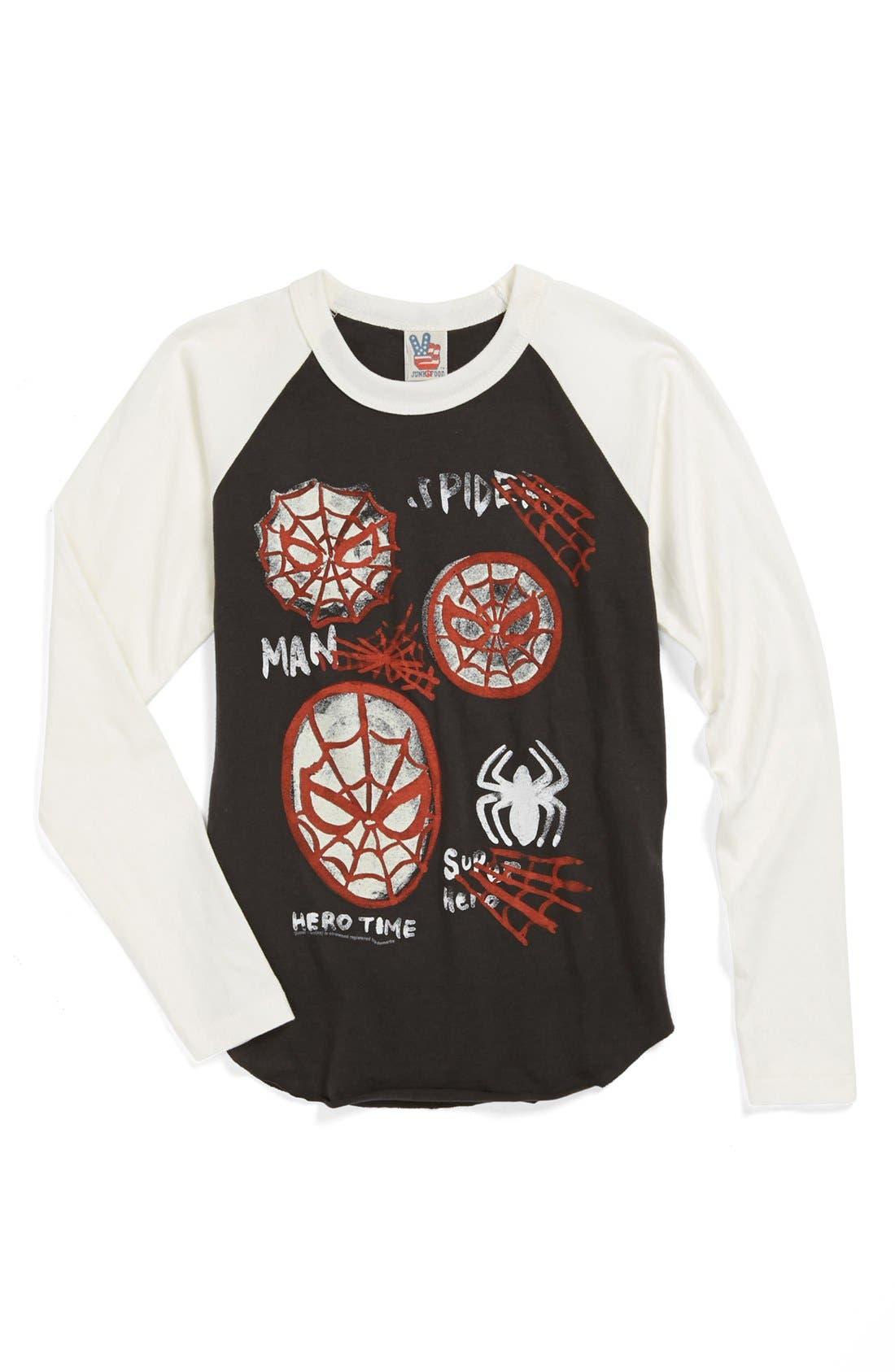 Alternate Image 1 Selected - Junk Food 'Spider-Man' Baseball T-Shirt (Little Boys & Big Boys)