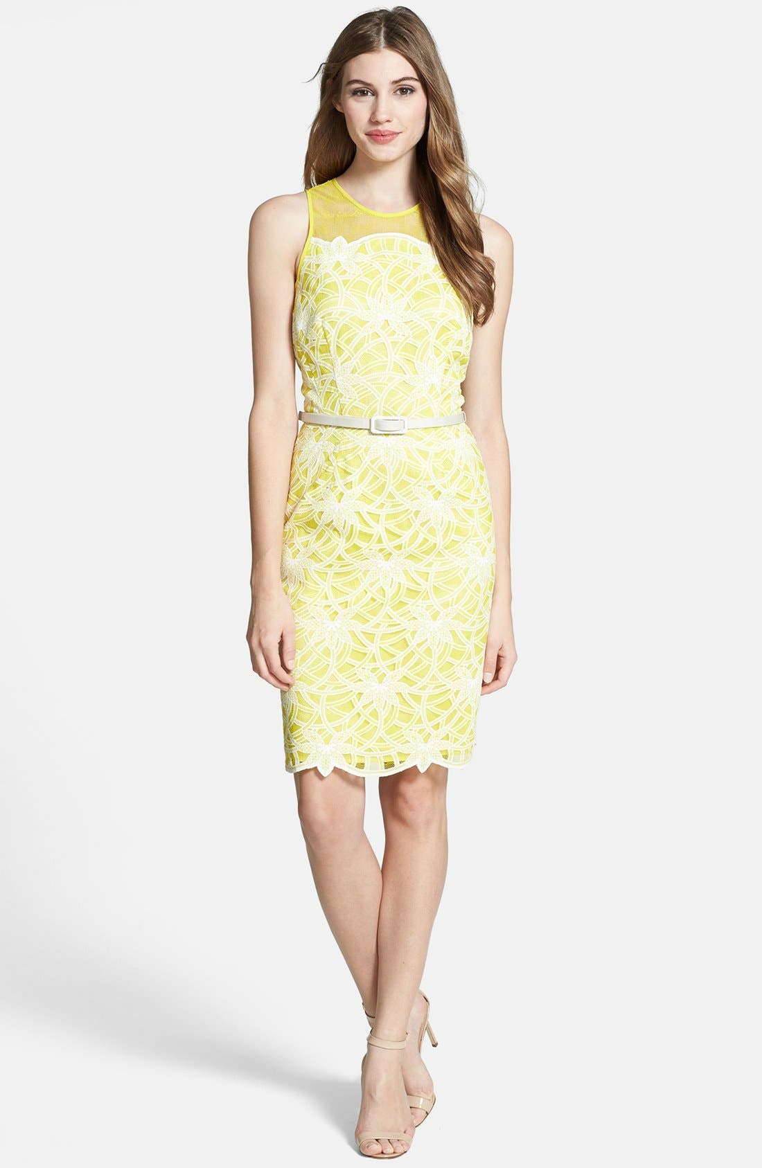 Alternate Image 3  - Maggy London Belted Embroidered Lace Sheath Dress