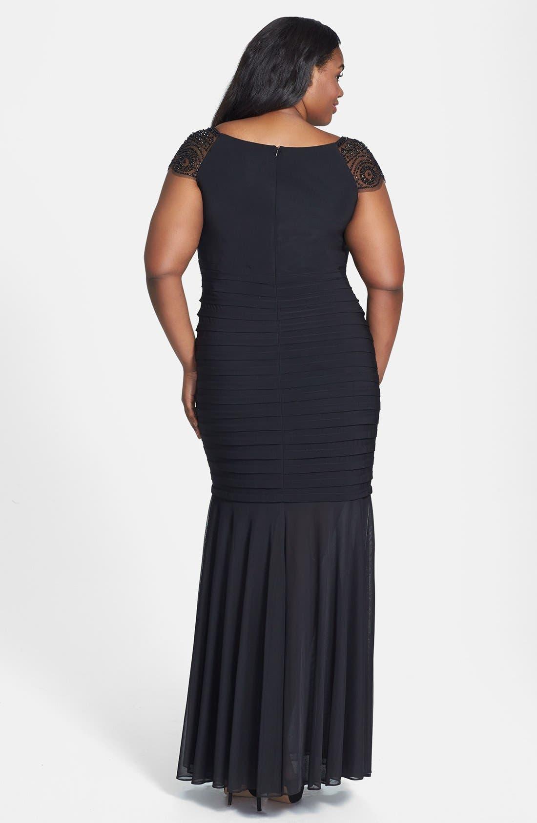 Alternate Image 2  - Xscape Beaded Yoke Chiffon Gown (Plus Size)