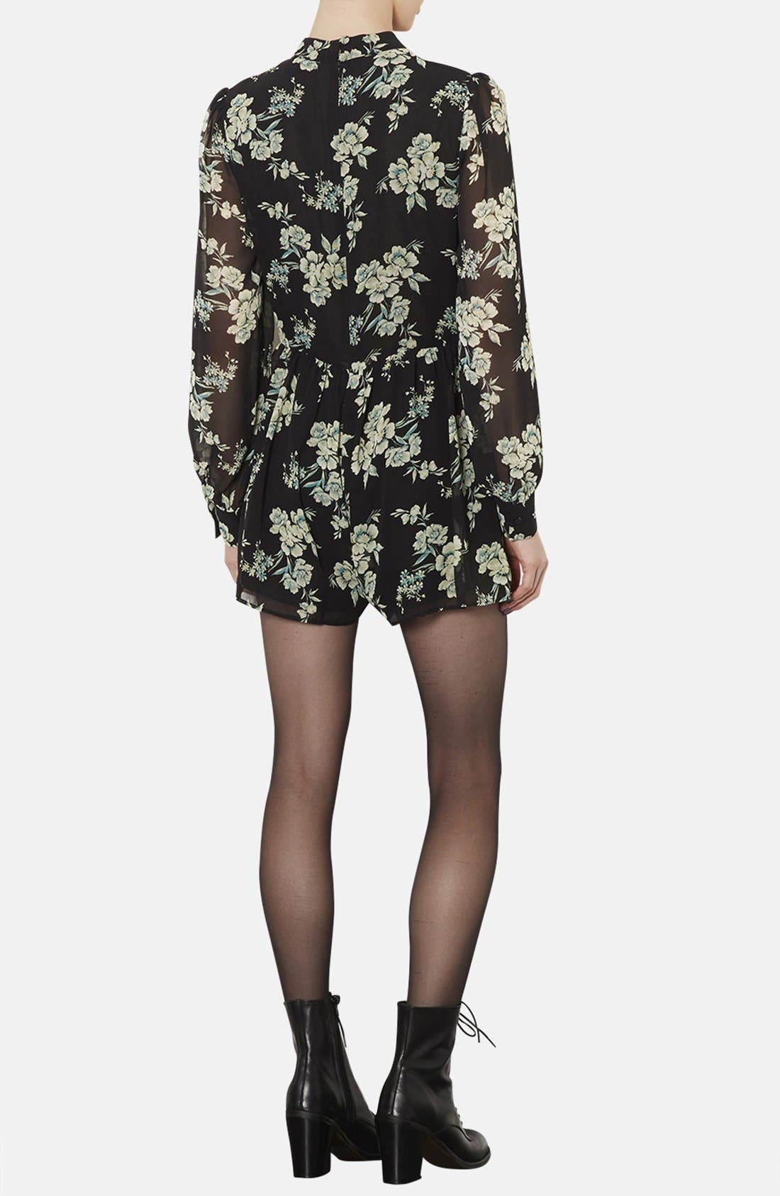 Alternate Image 2  - Topshop Floral Print Long Sleeve Romper