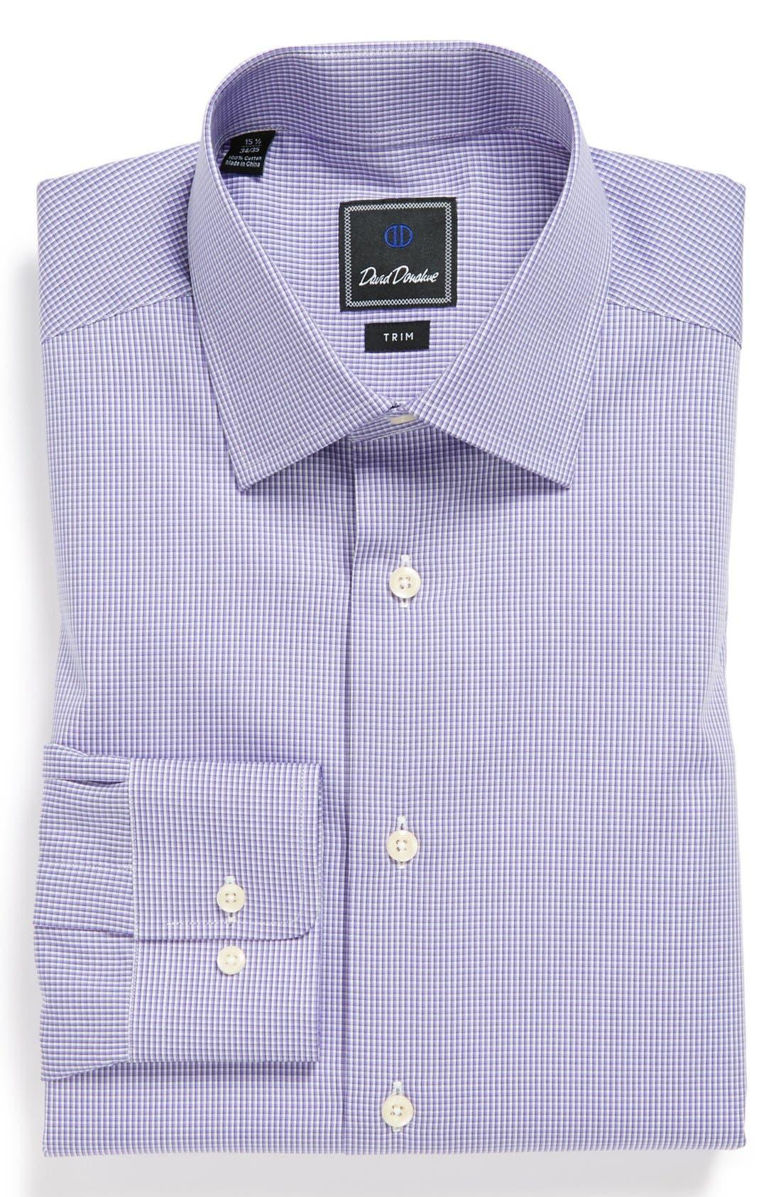 Alternate Image 1 Selected - David Donahue Poplin Check Trim Fit Dress Shirt