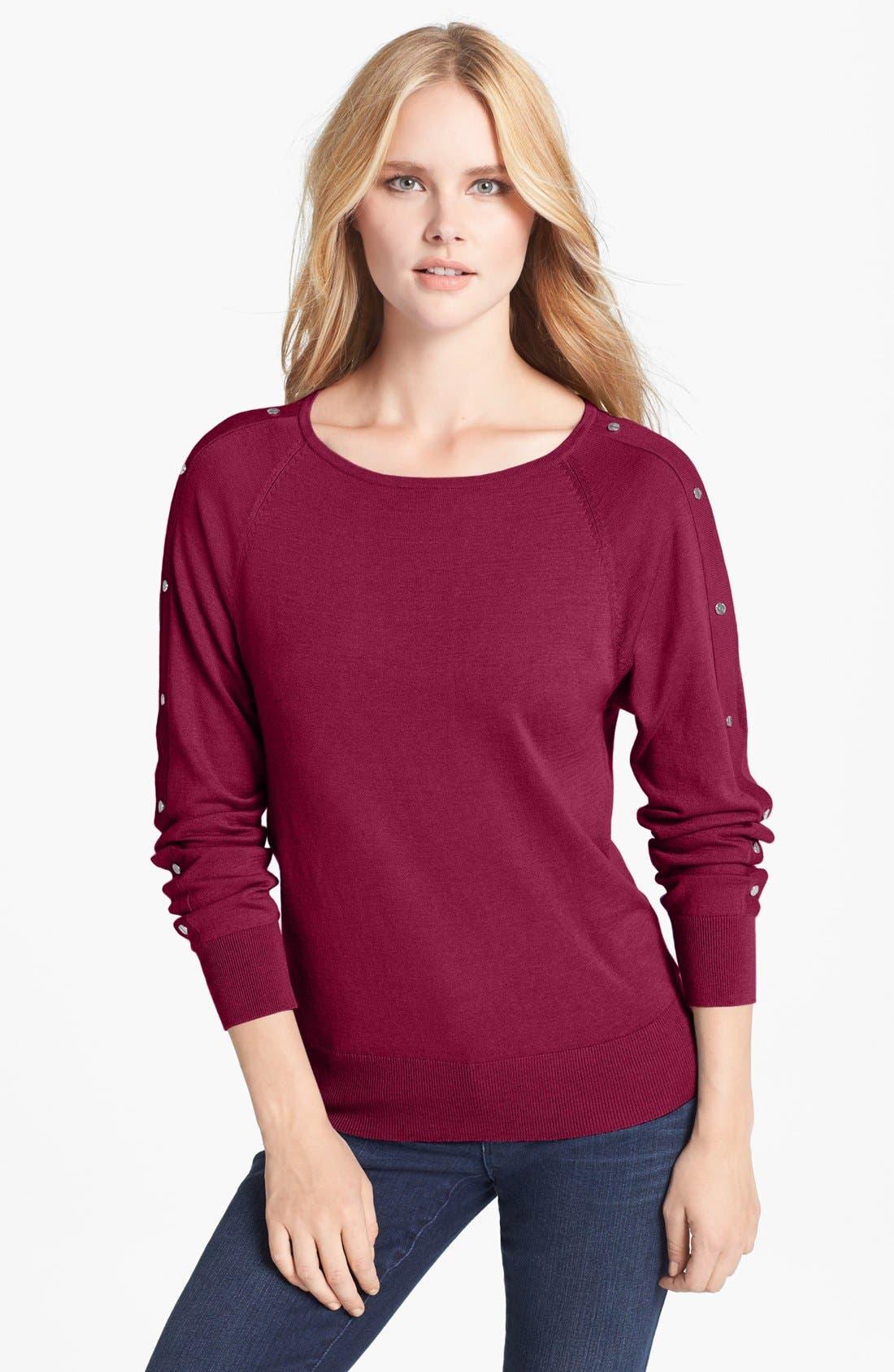 Alternate Image 1 Selected - MICHAEL Michael Kors Studded Sleeve Sweater (Petite)