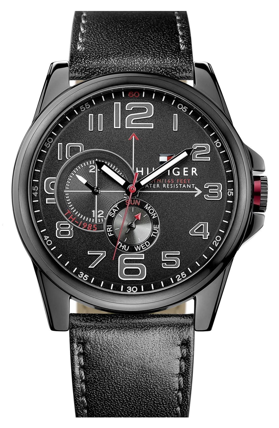 Main Image - Tommy Hilfiger Round Leather Strap Watch, 46mm