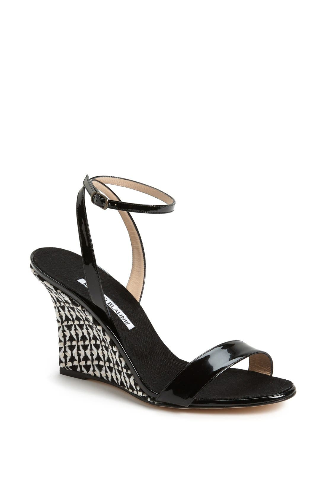 Alternate Image 1 Selected - Manolo Blahnik 'Ribera' Wedge Sandal