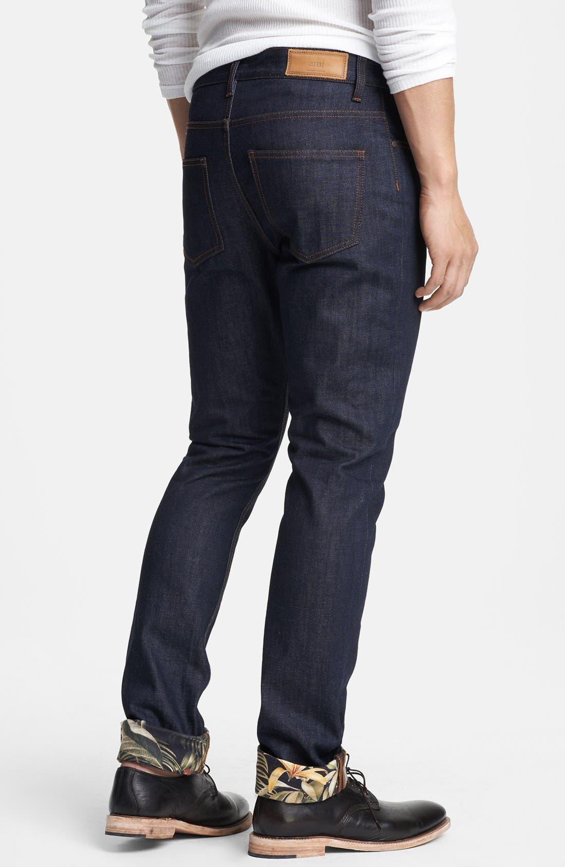 Alternate Image 2  - AMI Alexandre Mattiussi Straight Leg Raw Selvedge Jeans with Floral Cuff Trim (Indigo)