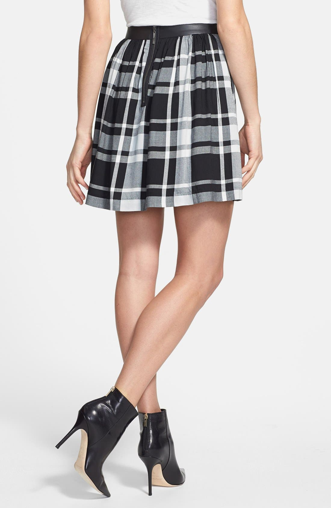 Alternate Image 2  - kensie Faux Leather Waistband Plaid Skirt