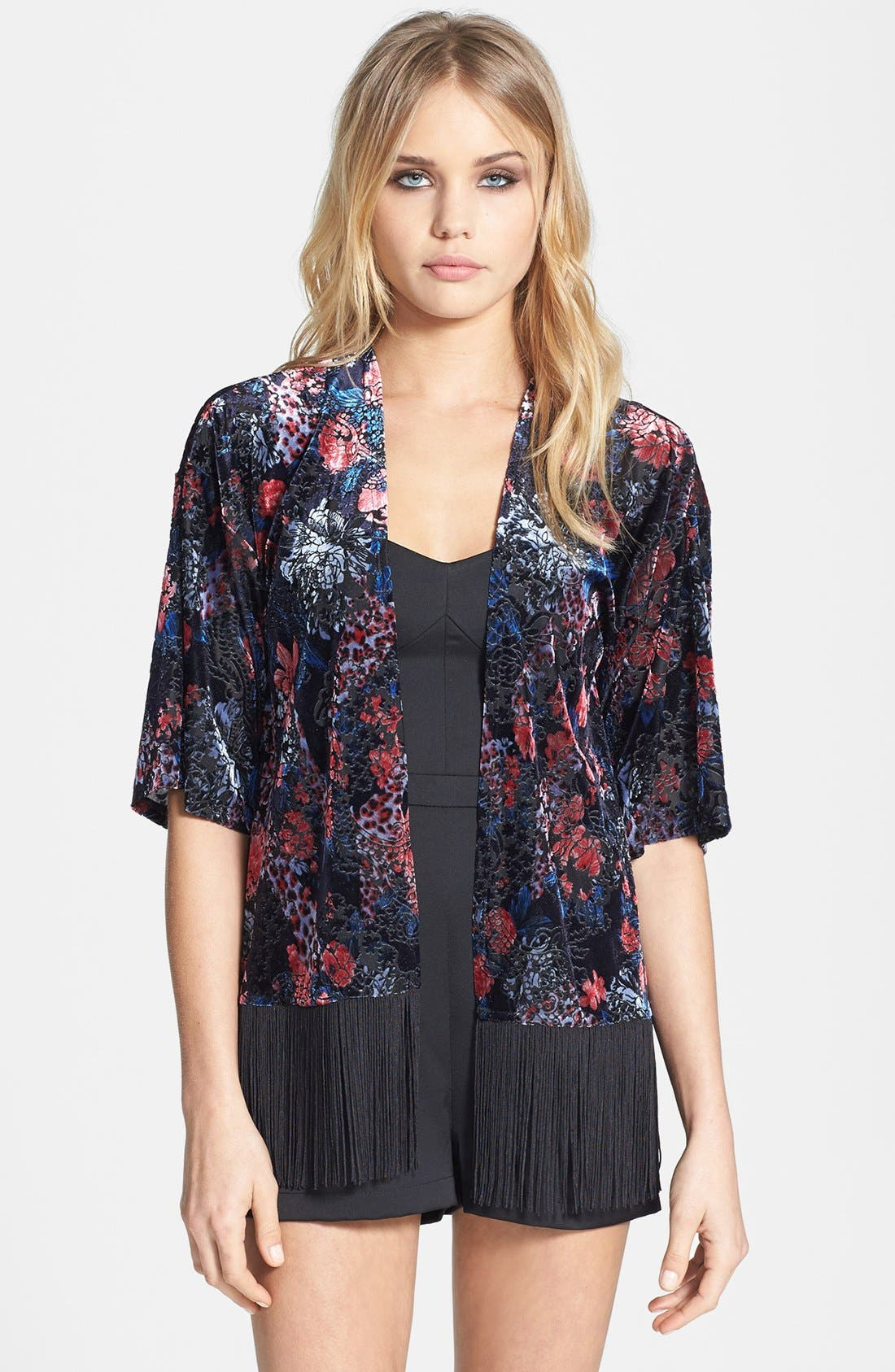 Alternate Image 1 Selected - Topshop Floral Velvet Kimono Jacket