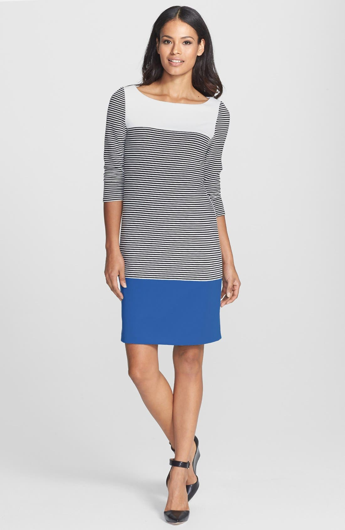 Alternate Image 2  - Isaac Mizrahi New York Colorblock Stripe Stretch Jersey Shift Dress
