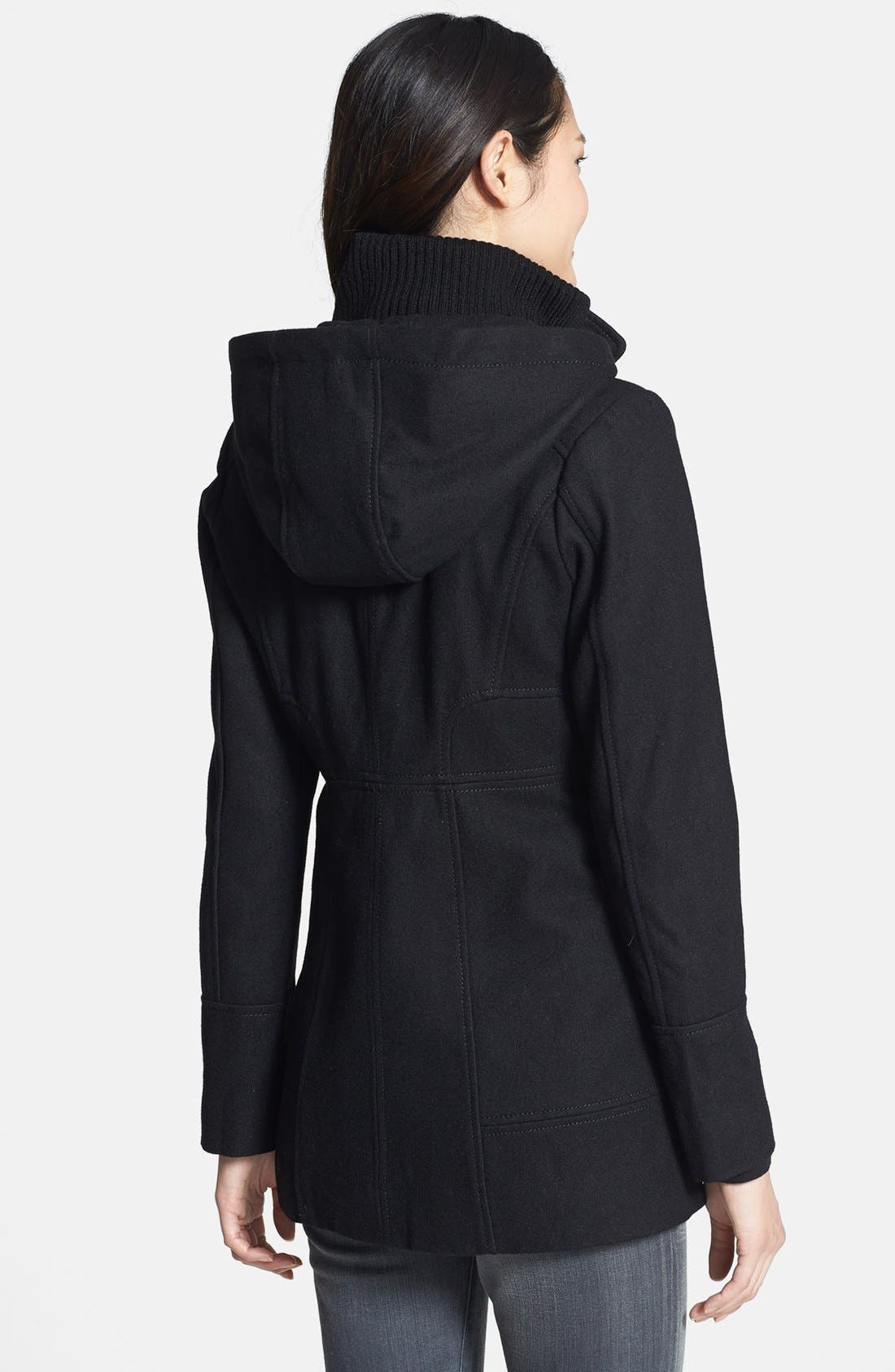 Alternate Image 2  - GUESS Hooded Toggle Front Wool Blend Coat (Petite)